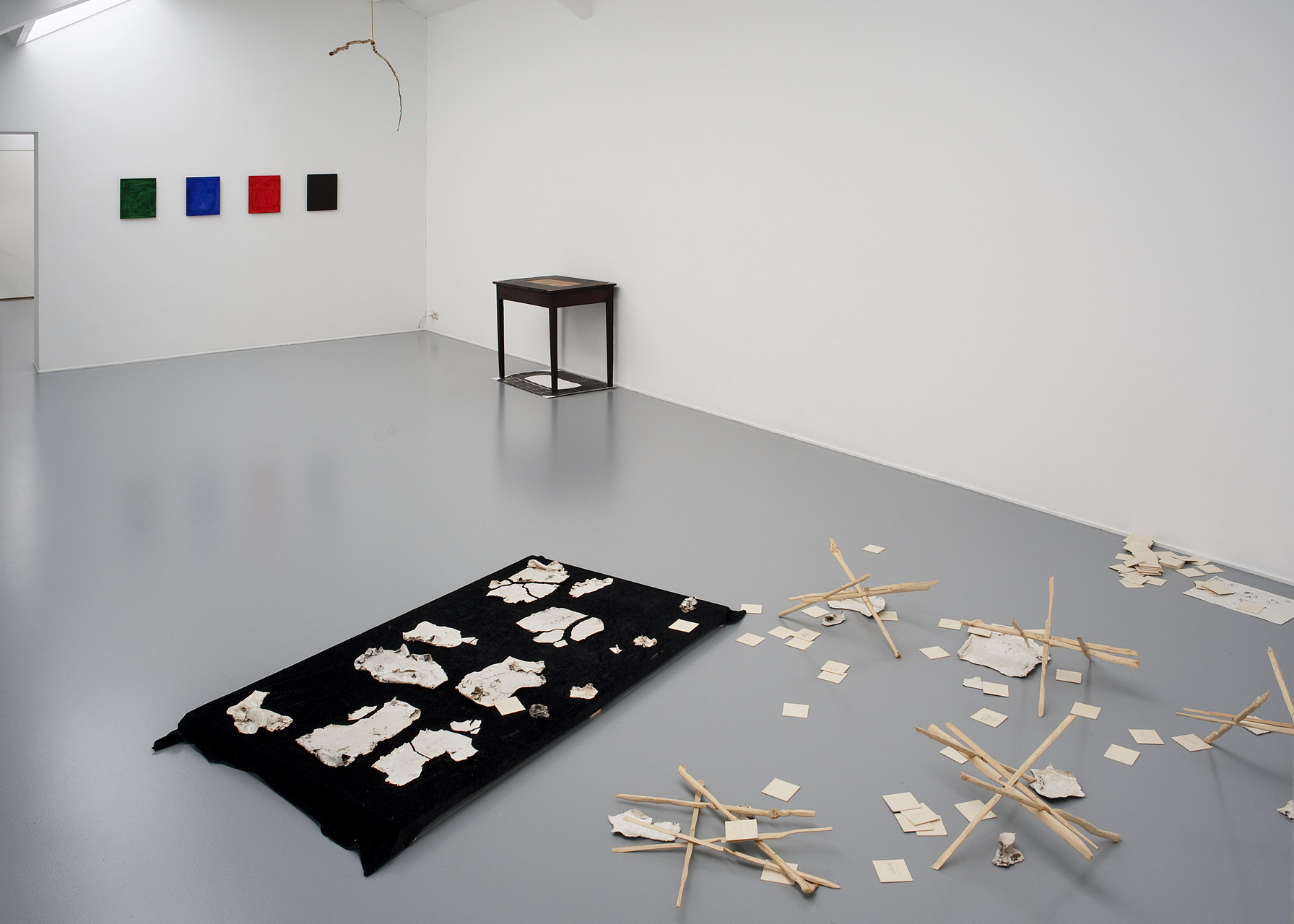 07 install shot with works by Jean-Luc Moul+¿ne, Lucy Skaer, Becky Beasley and Reto Pulfer