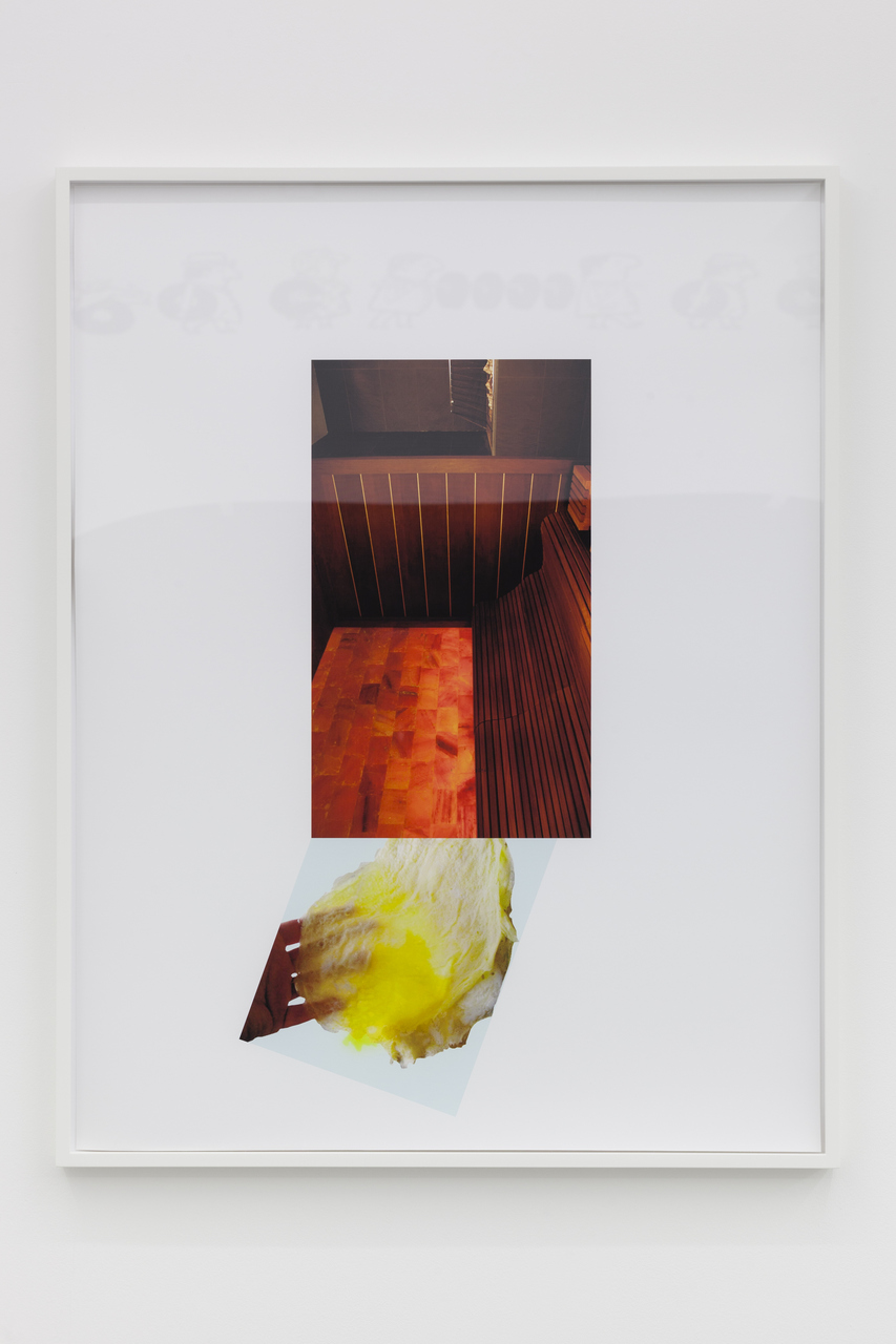 Lisa Holzer, Omelette passing under sauna, 2015, Pigment print on cotton paper, acrylic on glass, 92x72cm