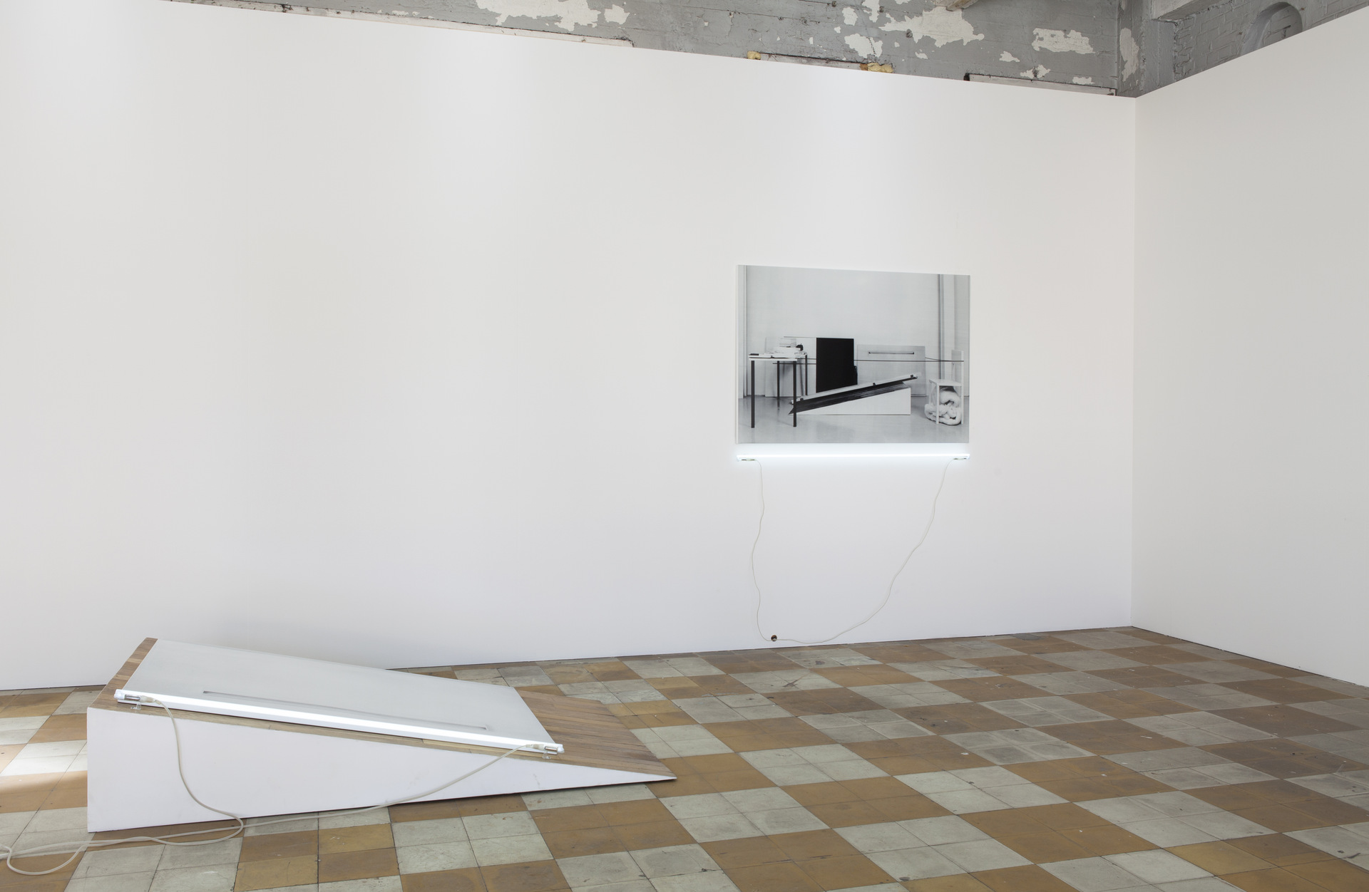 Laura Lamiel, 'Untitled', 2000 & 'La Calle (the wedge)', 2000-2013, in 'The Camera's Blind Spot II', installation view, Extra City Kunsthal, 2015 © We Document Art