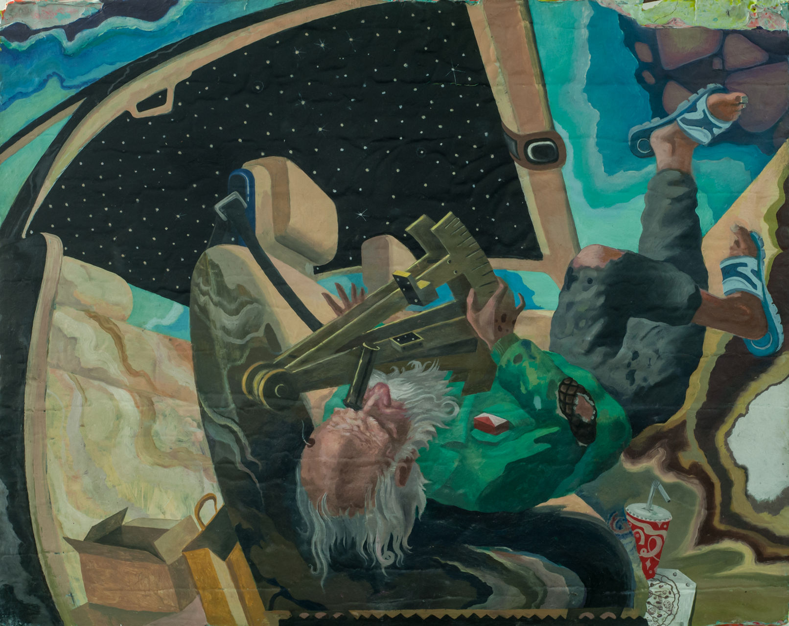 Mihut Boscu Kafchin, Diogenes reading the stars, 2015, oil on wood, 50,5 x 62,5 cm