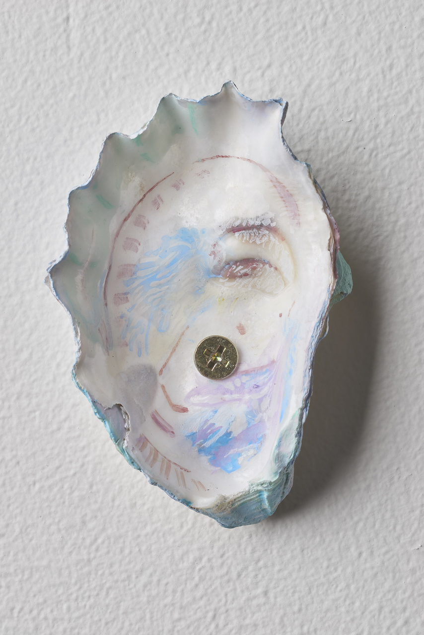 15.Dordoy_Sleepwalker, 2015_Acrylic and watercolor on shell_3.5x2.25 inches