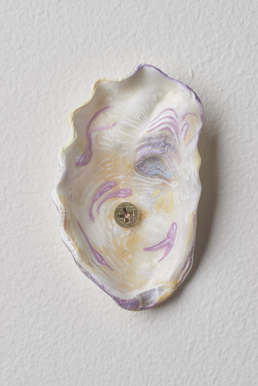 16.Dordoy_Sleepwalker, 2015_Acrylic and watercolor on shell_3.75x2inches