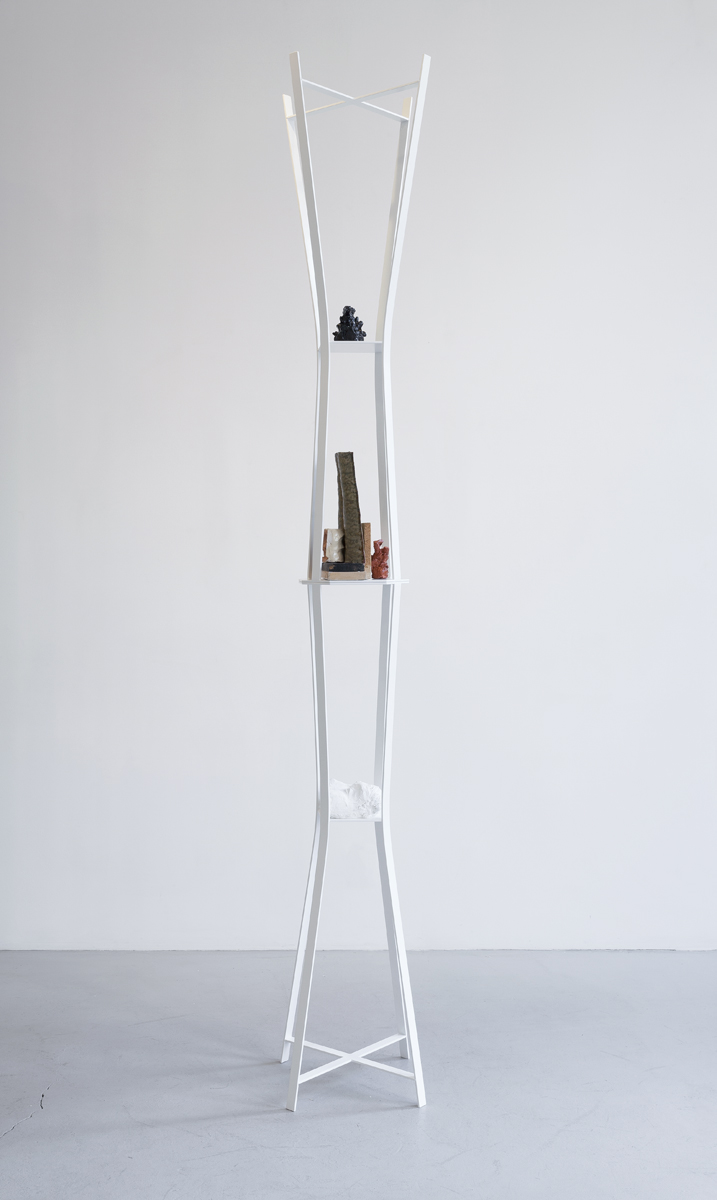 20.Olson_Diagram, 2014_Ceramic, ink, wood, self-hardening clay, plaster, powder-coated steel_96 x 13 x 13 inches