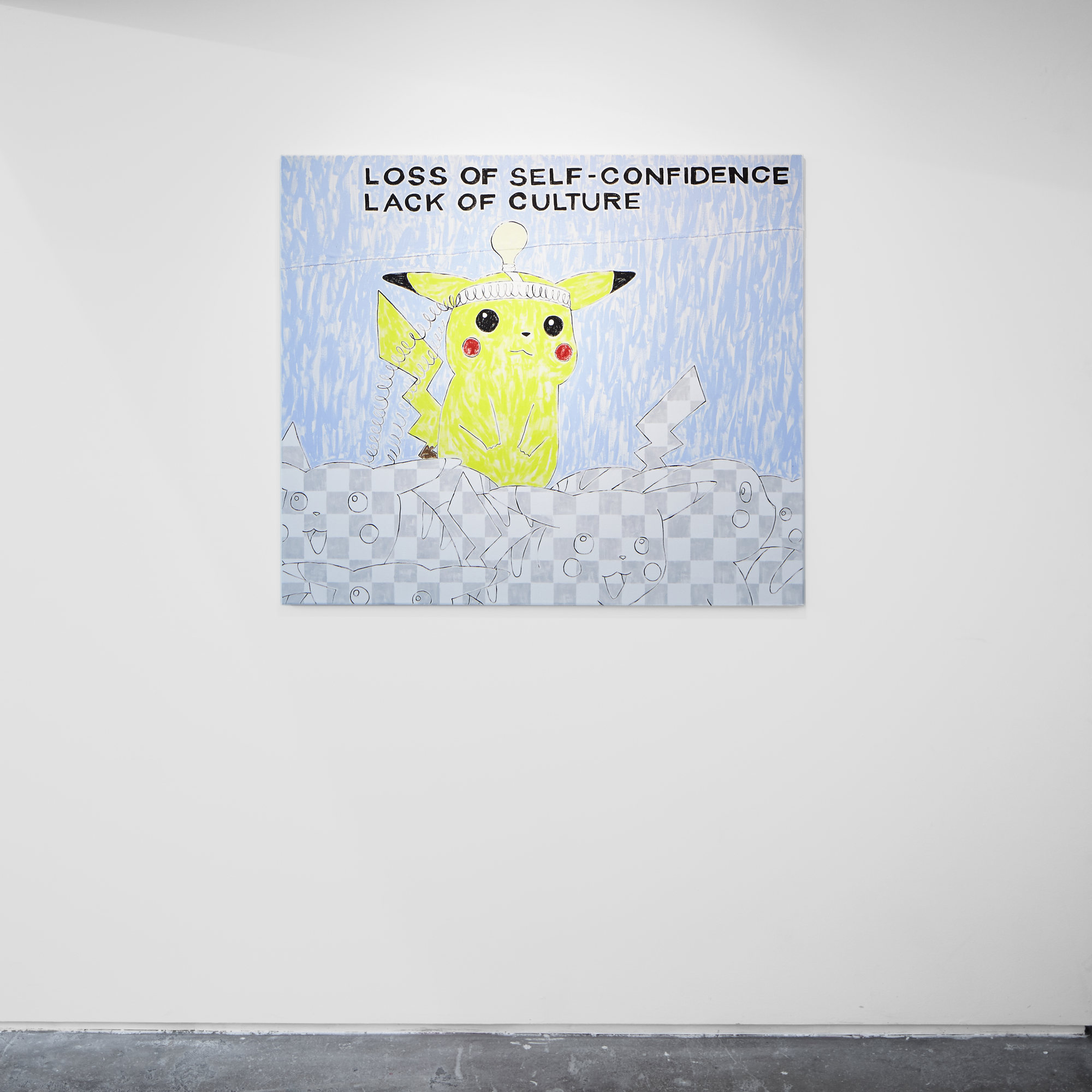 LOSS OF SELF-CONFIDENCE LACK OF CULTURE 2015 Oil and aluminium particle paint on canvas 95x110cm Michael Pybus - Hubcap Smiley - Evelyn Yard - 2015 - 023