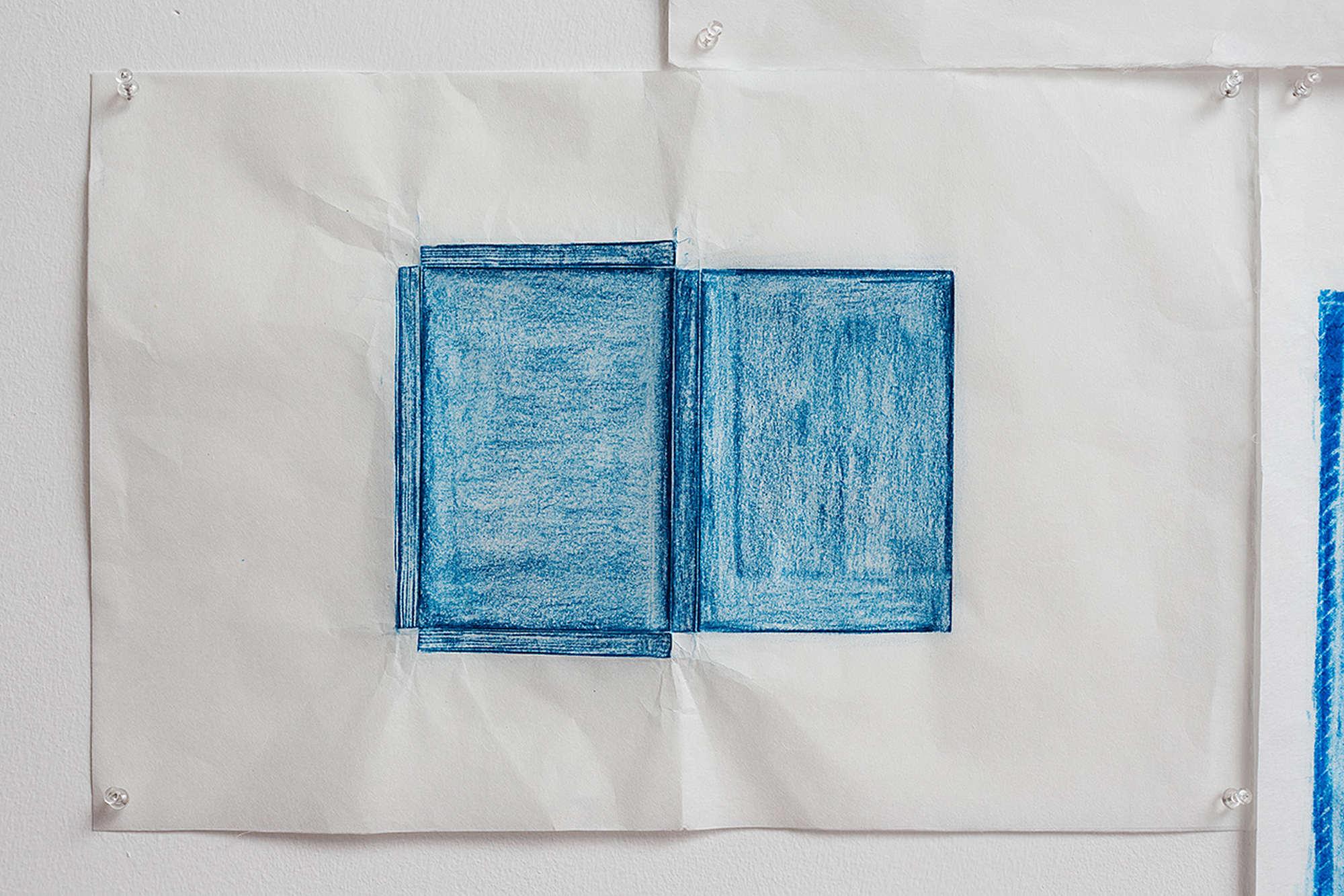 Jennifer Bornstein, Printed Matter, rubbing (encaustic and wax on Kozo paper), 49 x 64 cm, unique