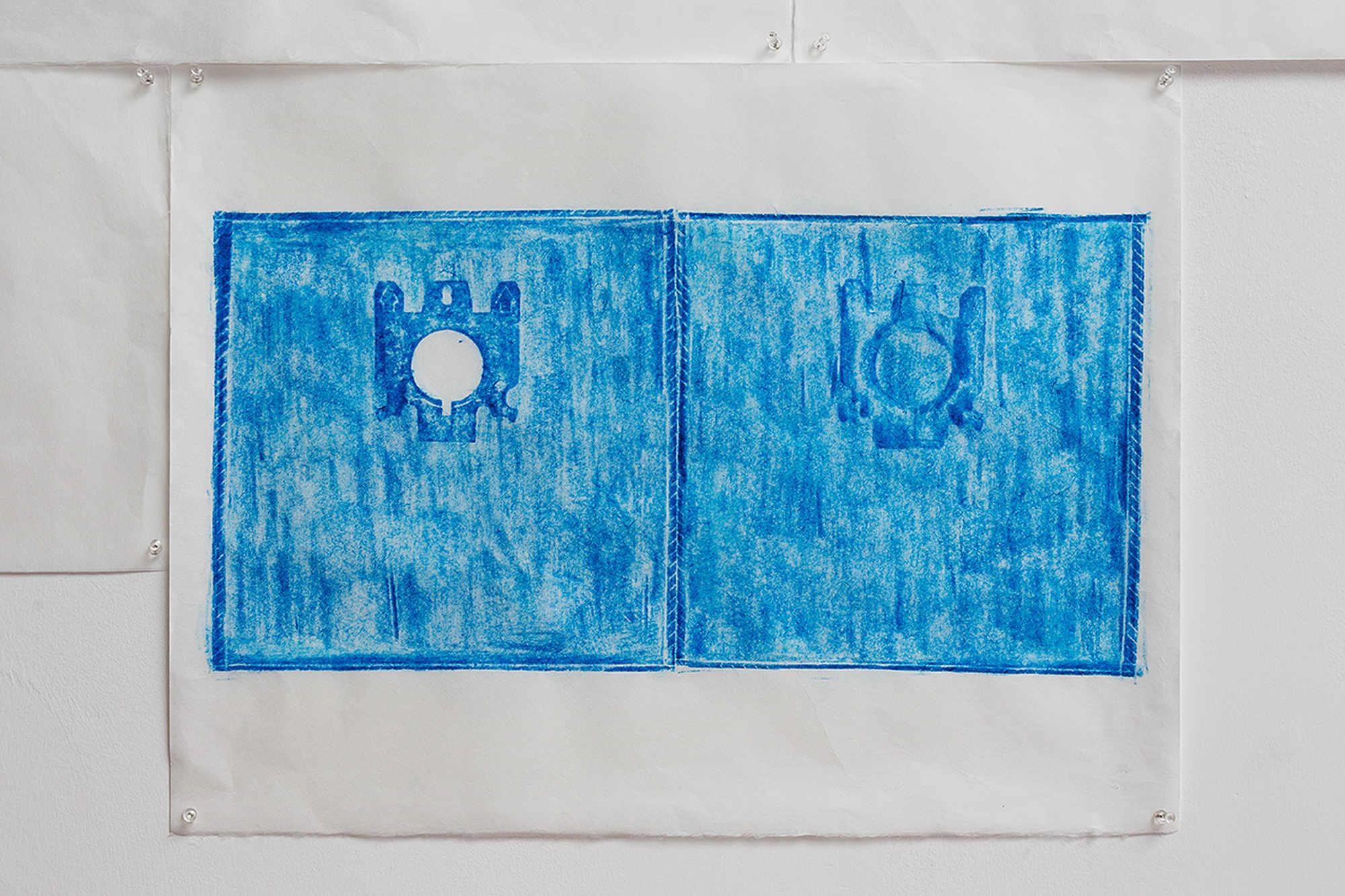 Jennifer Bornstein, Printed Matter, rubbing (encaustic and wax on Kozo paper), 49x64.5 cm, unique