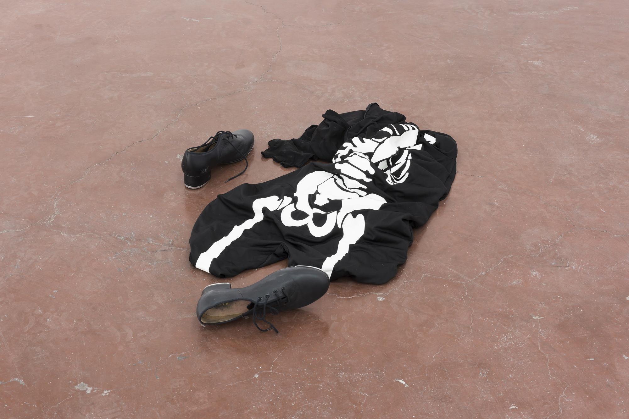 Latifa Echakhch, Untitled (Dancer), 2013, Skeleton costume, tap shoes, 60 cm diam, unique