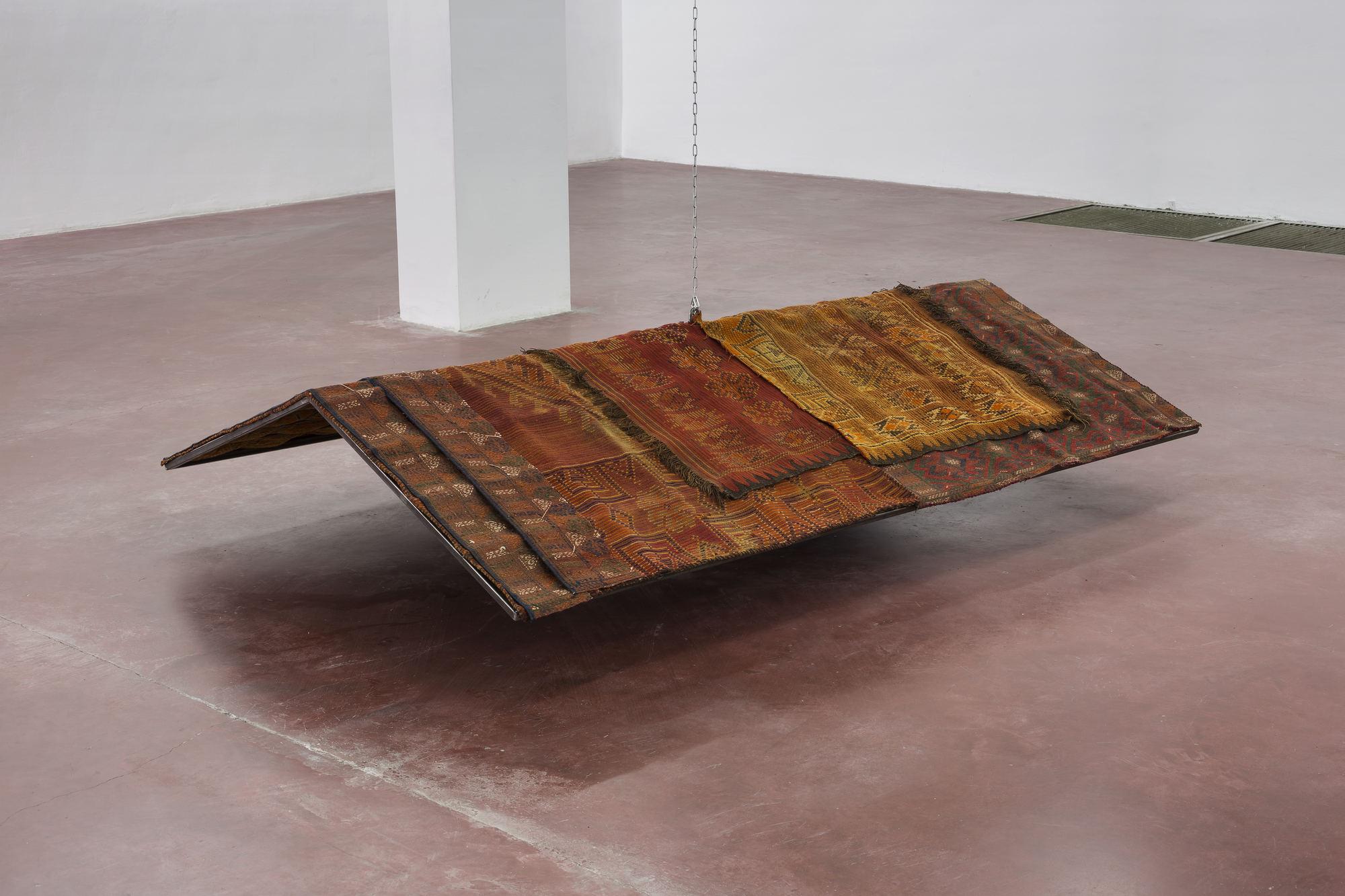 Miroslaw Balka, 180 x180 x 53 domestic shelter, 2015, steel, carpet, 53 x180 x 120 cm, unique