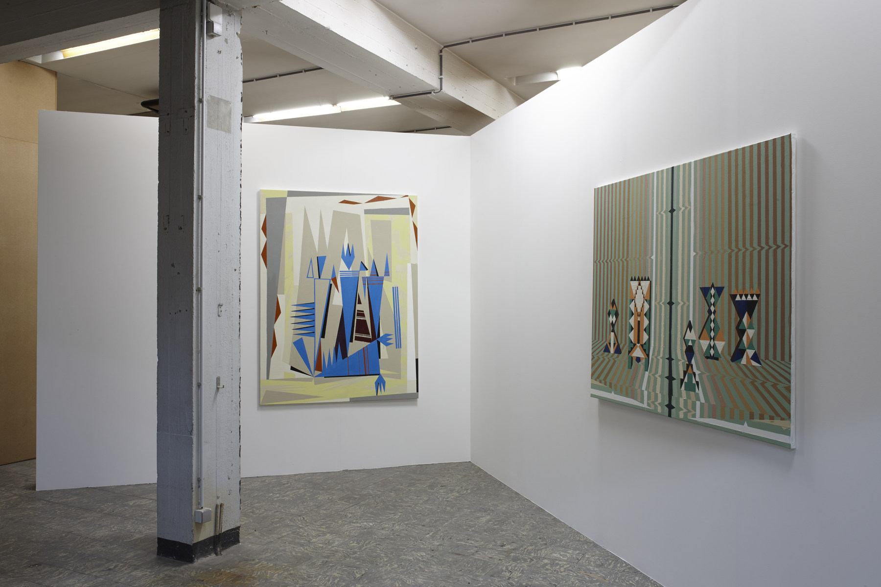 Farah Atassi, 'Hypnotic Setting', 2015, 'Ballet', 2015, in 'Farah Atassi', installation view, Extra City Kunsthal, 2015 © Jan Kempenaers