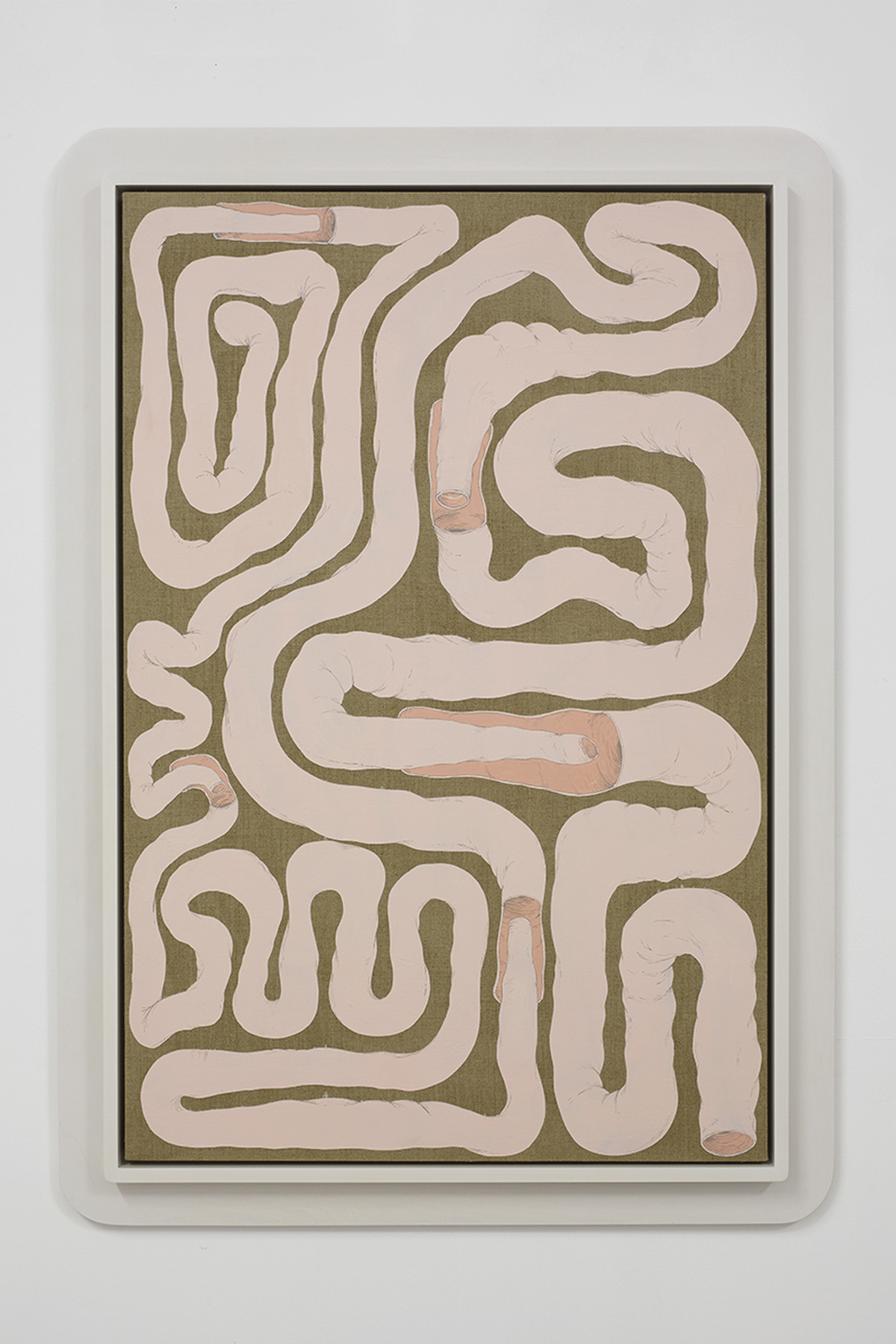 20.Hoeber_Intestinal Floorplan_Security Apparatus, 2015_Flashe and acrylic on linen with artist's frame_48.5x34.5in