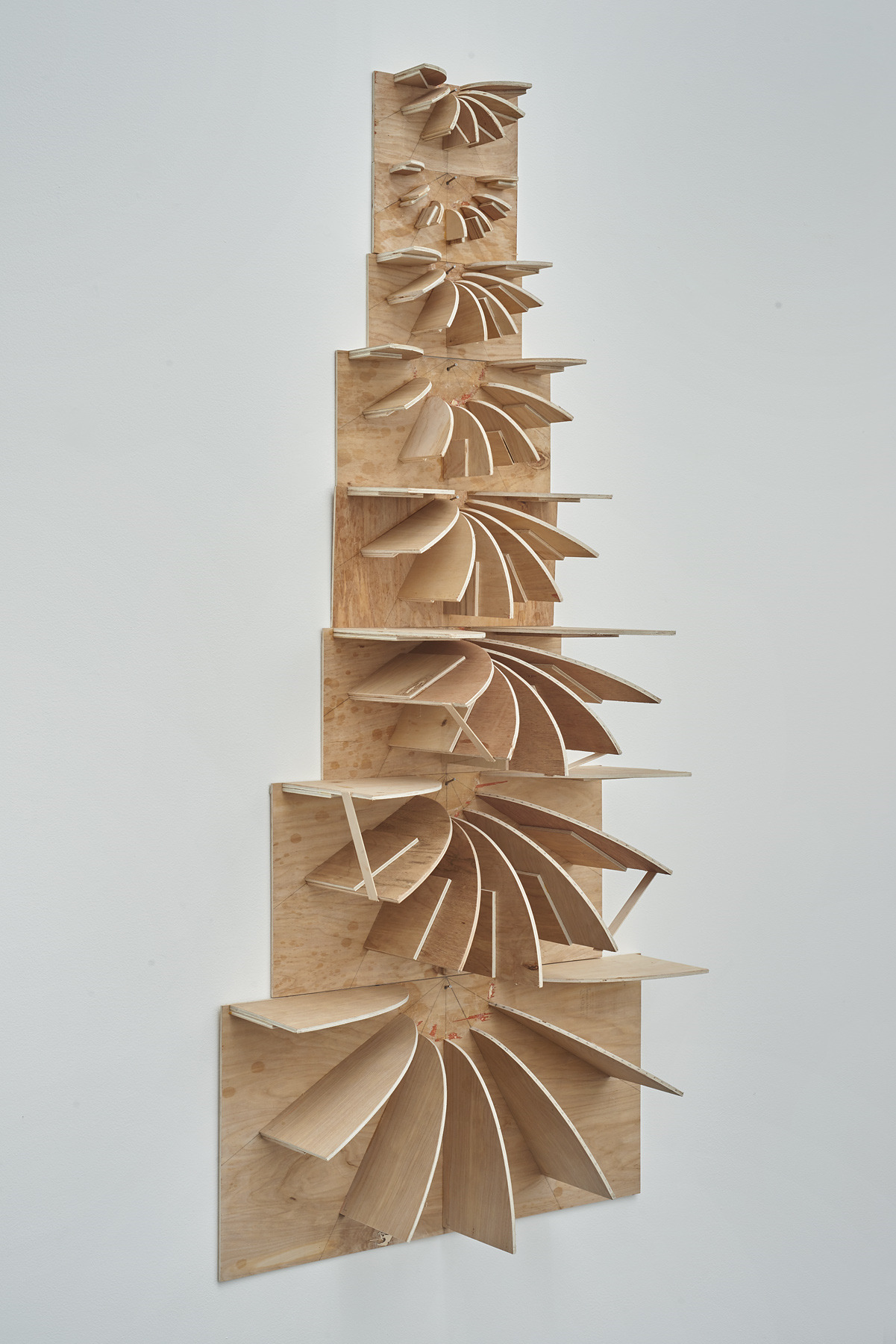 68.Hoeber_Negative Space Thought, 2015_Plywood, glue, shellac, popsicle sticks and nails_55x25x9.5in_alt view