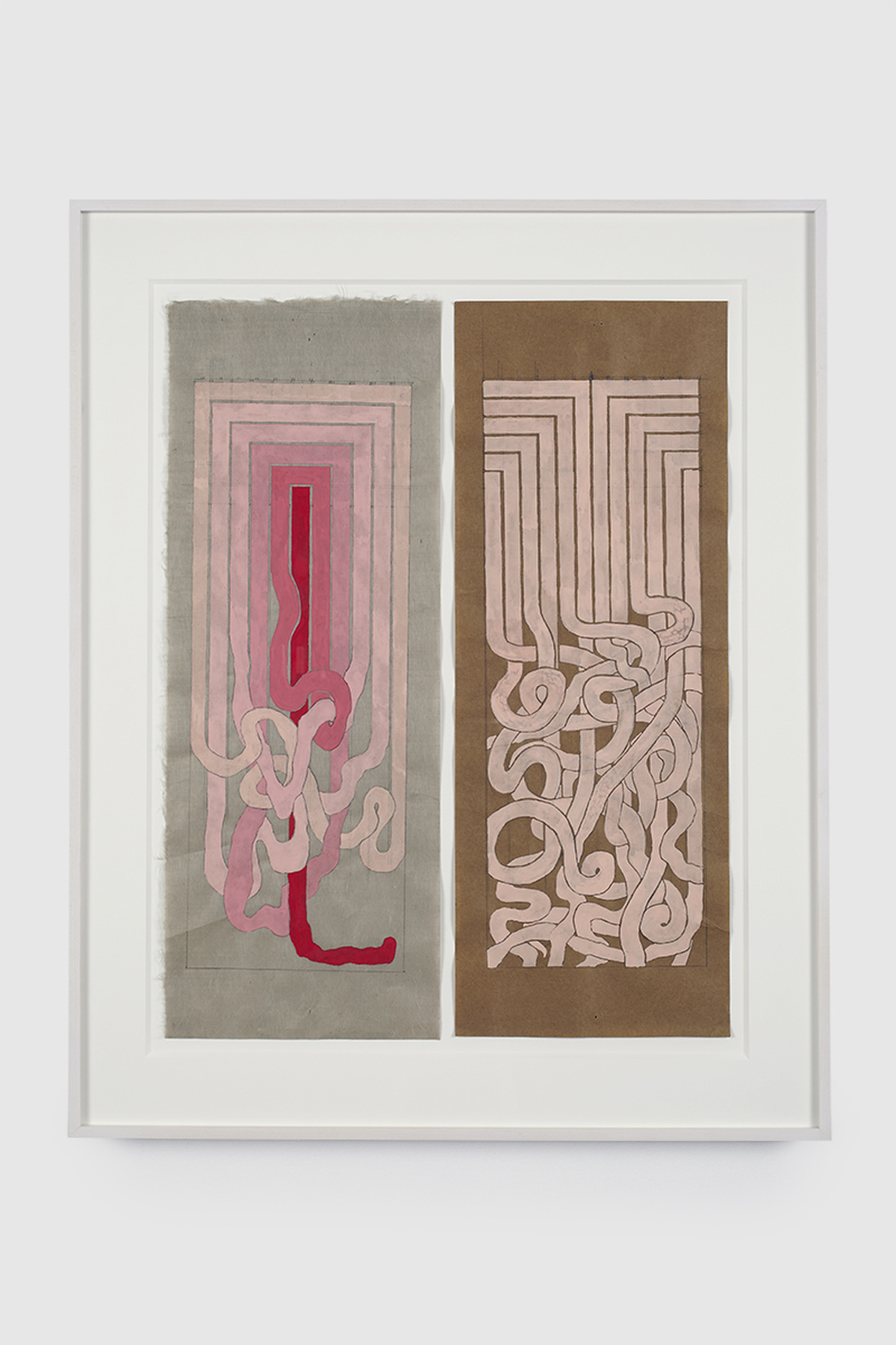 81.Hoeber_Angular to Curved Experiments 1&2, 2015_Gouache and graphite on mulberry paper_Approx 18x7 in each piece
