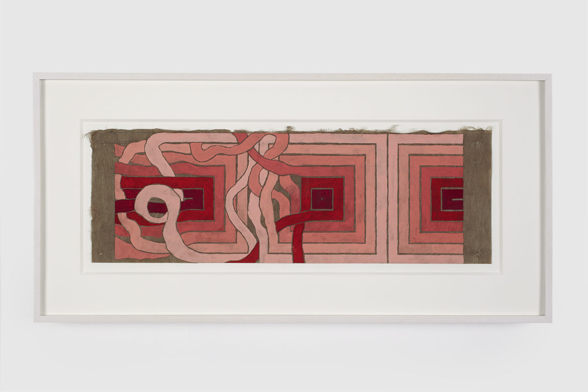 86.Hoeber_Angular to Curved Experiments 3, 2015_Gouache and graphite on mulberry paper_Approx 7x18in