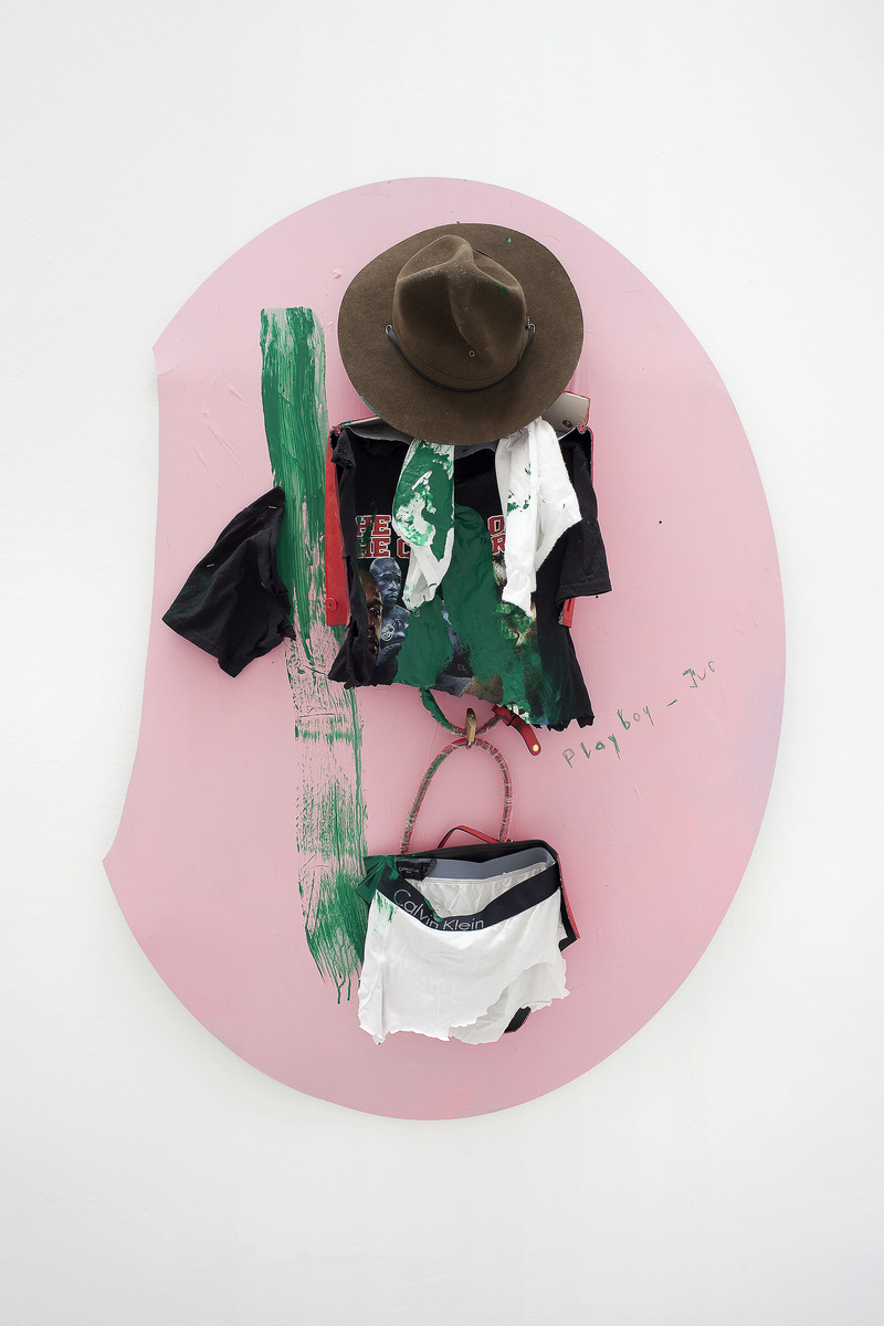 8 - Yves Scherer, GP, 2015, Aluminium Dibond, Prada Bag, T-Shirt, Pants and Acrylic Paint, 135x102 cm - Courtesy Studiolo, Milan - Photo Filippo Armellin