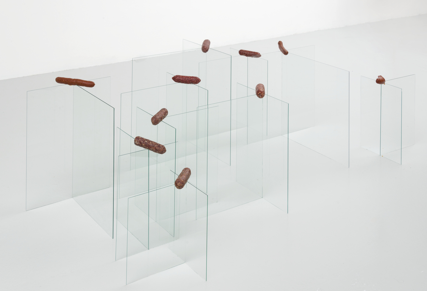 Christian Tedeschi - 20 Panes of Glass Buttressed by 10 Salami 1