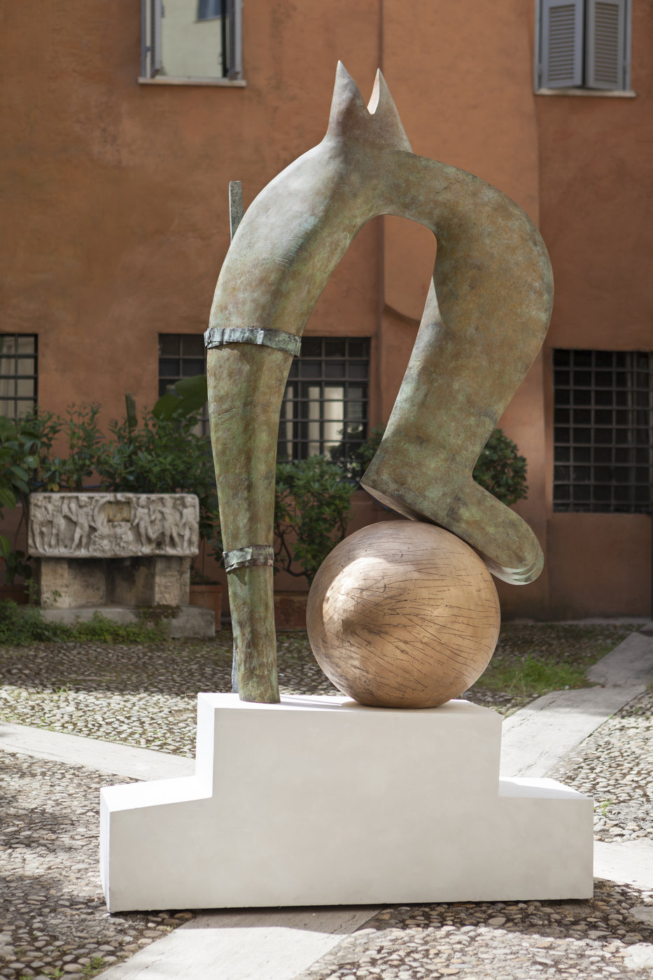 13. Camille Henrot, Dropping the Ball. Bronze, wood, plaster, 2016