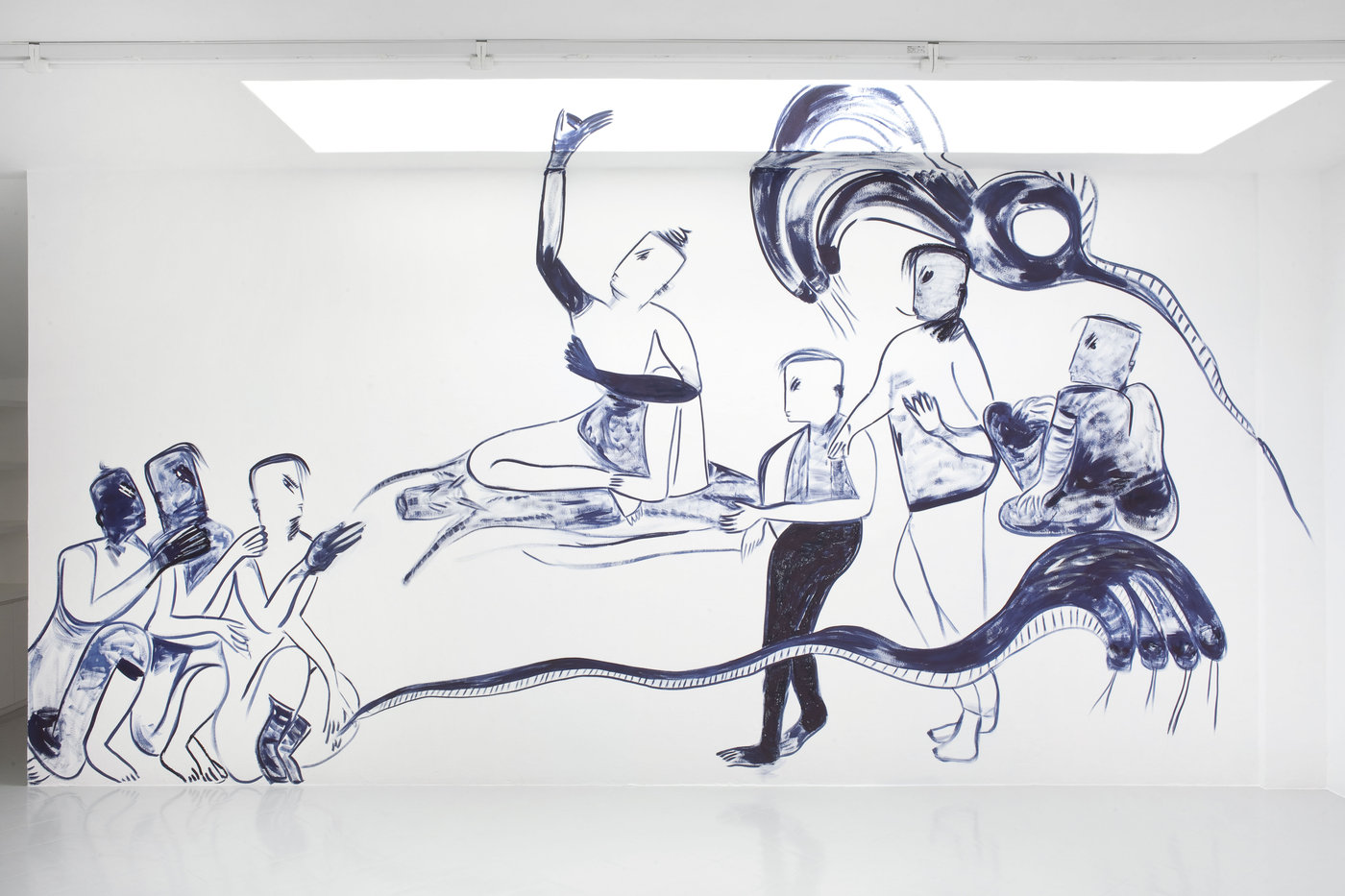 2 - Melike Kara, SAVANNAHS, GRASSLANDS AND DESERTS, 2016, oil stick and ink on wall, 600x300 cm - Courtesy Studiolo, Milan