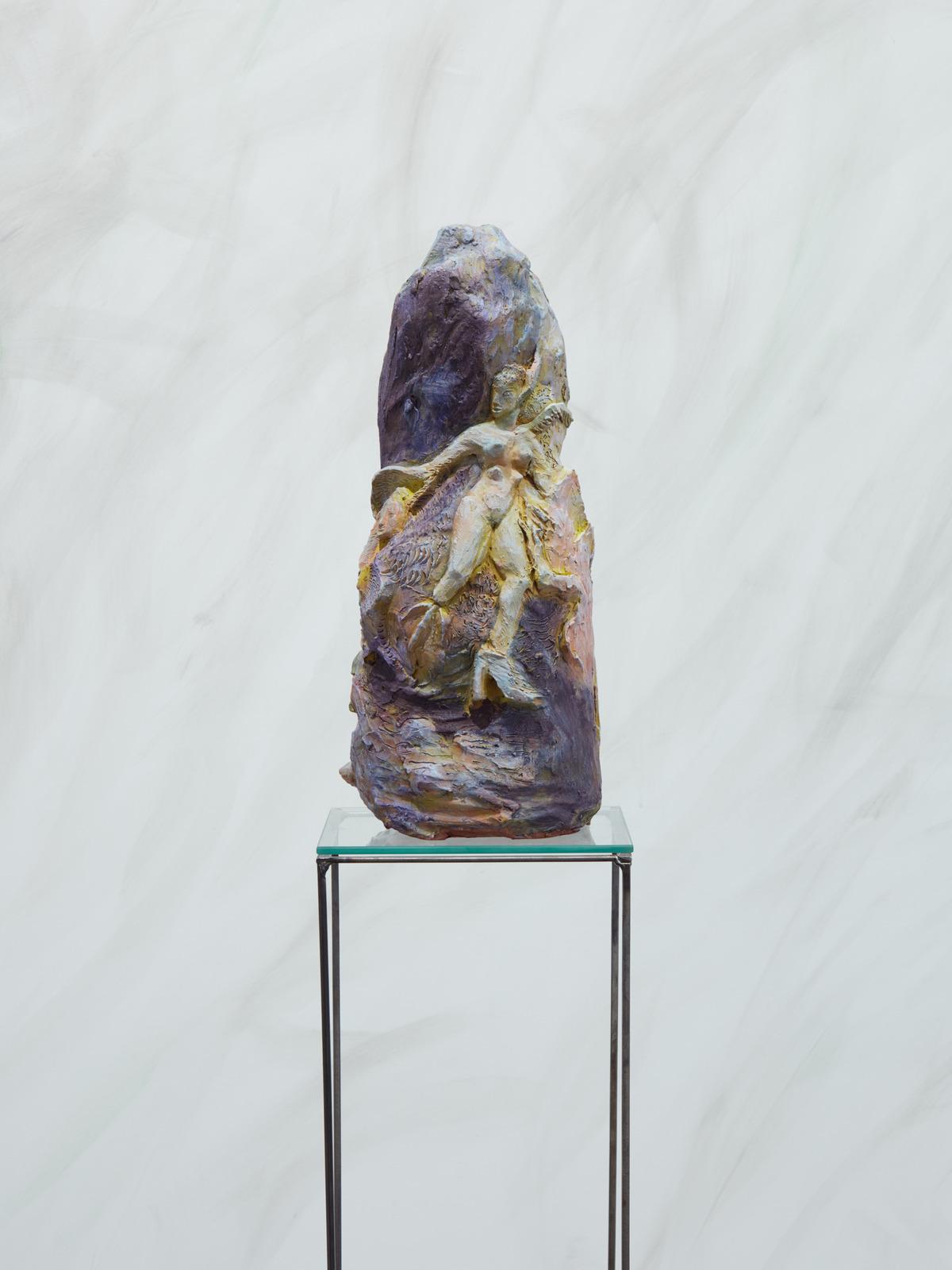 Duda Bebek, Oona, 2016, Acrylic on clay, 18 x 7 x 8 in, 46 x 19 x 21 cm
