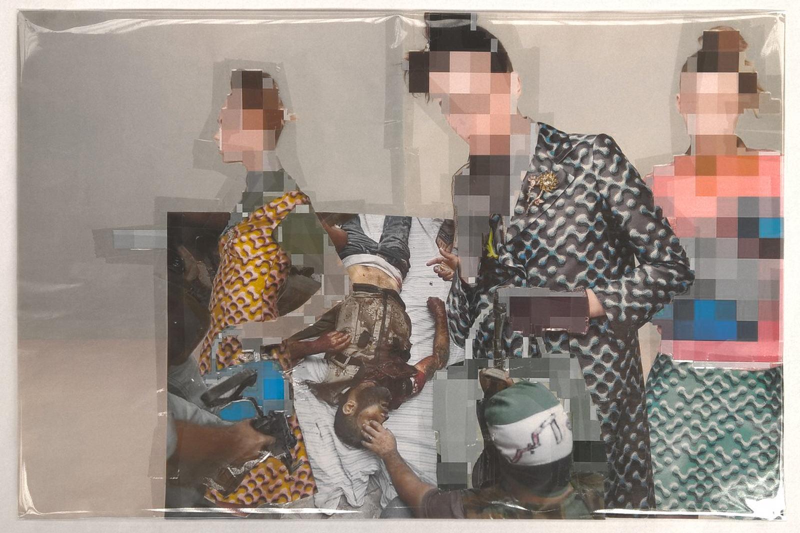 Pixel-Collage nº63, 2016, Prints, tape, transparent sheet, 33x50,5 cm