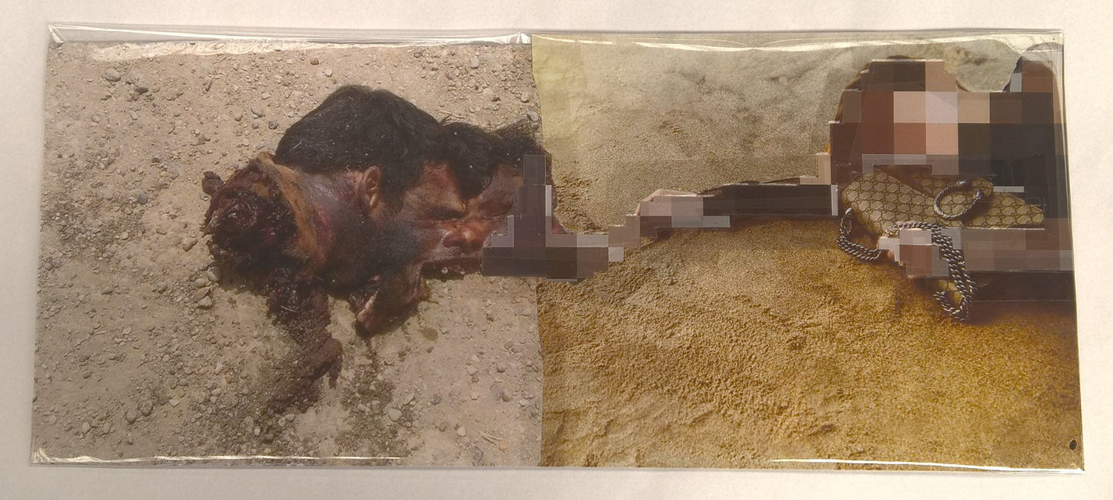 Pixel-Collage nº56, 2016, Prints, tape, transparent sheet, 19x44 cm