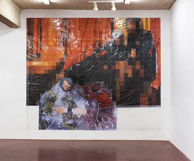 Pixel-Collage nº29, 2016, Prints, tape, transparent sheet, 336x405cm