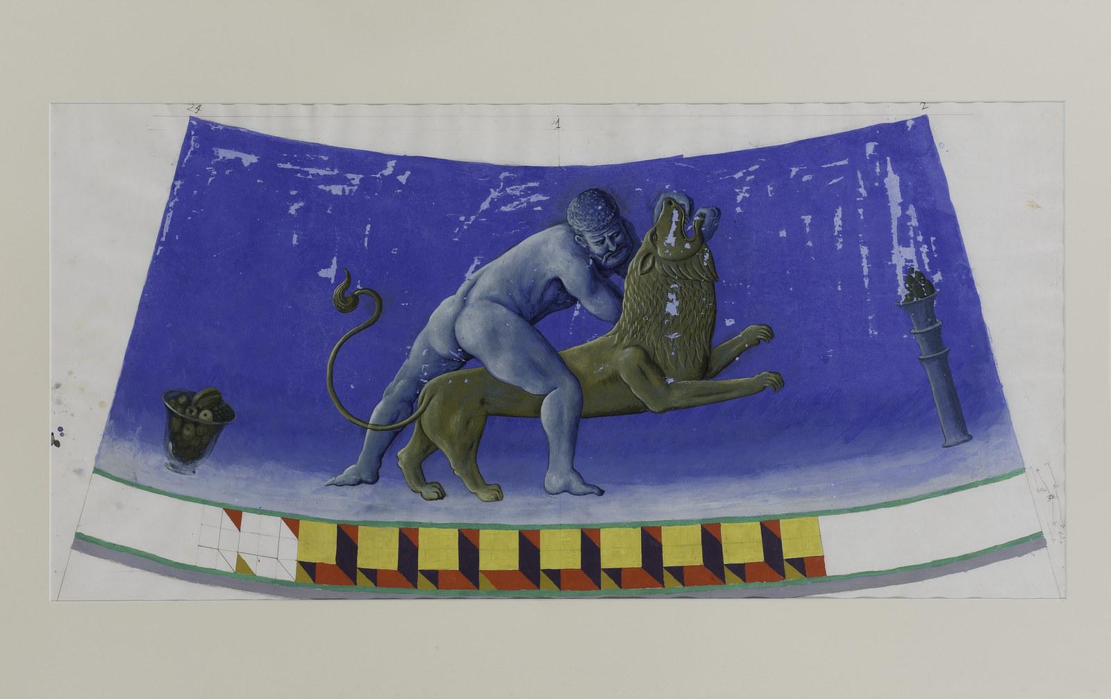 GUPE Leo (Serie Zodiaco), 1991. Grafito sobre papel. 75,5 x 130 x 4 cm