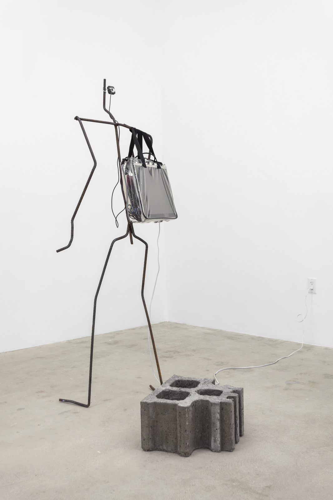 Versteeg_The Secret_Cement, welded steel, internet-connected computer program, electronics, tote bag, The Secret_2016