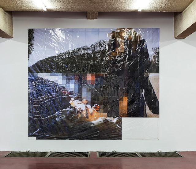 Pixel-Collage nº32, 2016, Prints, tape, transparent sheet, 336x396cm