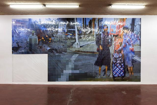 Pixel-Collage nº42, 2016, Prints, tape, transparent sheet, 362x730cm