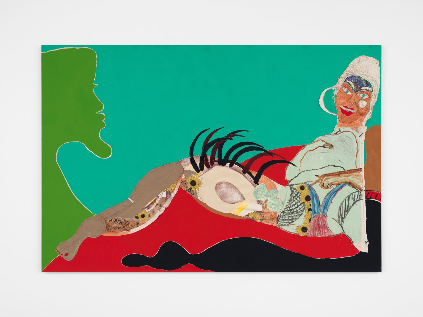 Tschabalala Self, Thigh, 2016 Painted canvas, fabric, oil, acrylic, and flashe on canvas 48 x 72 inches
