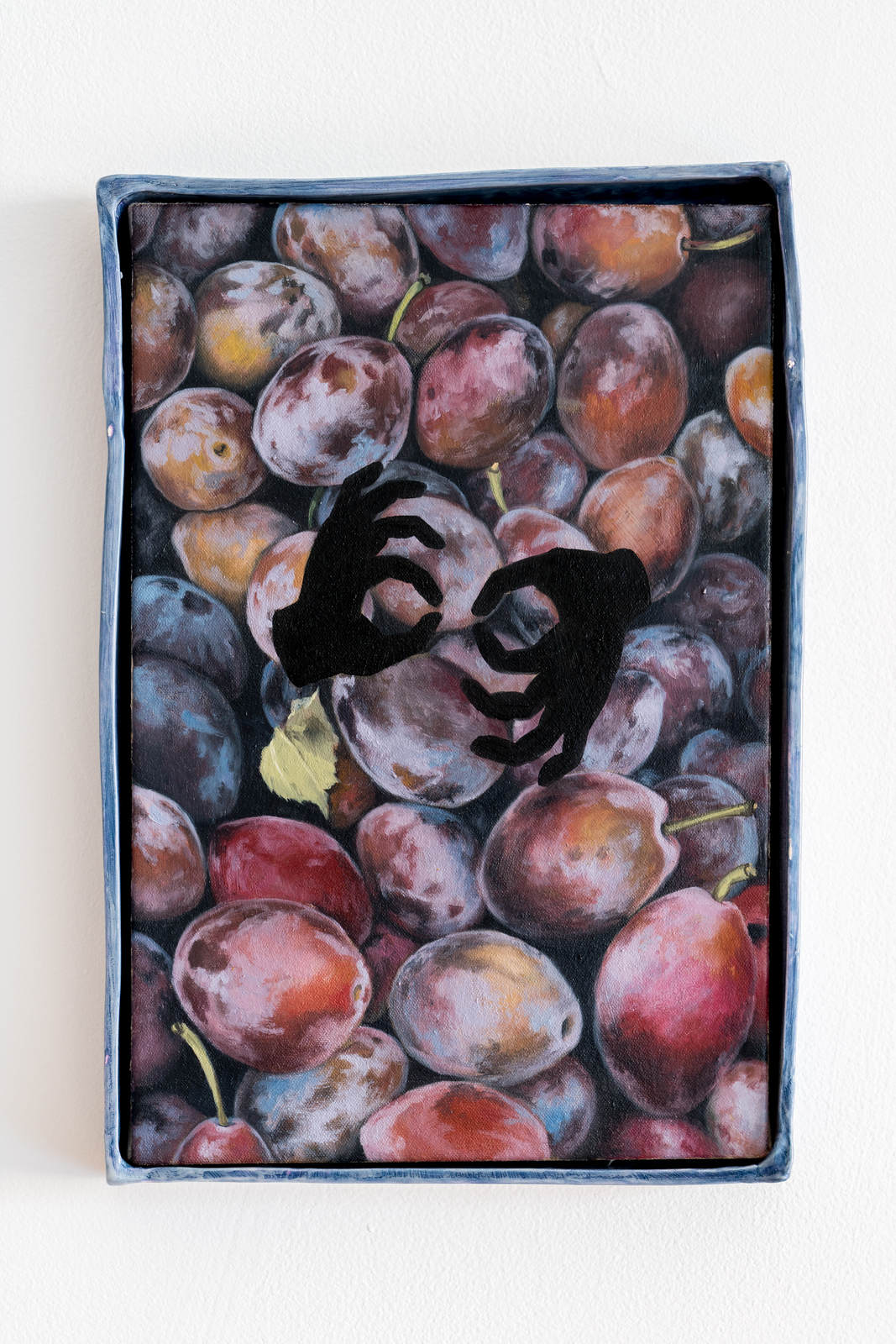 stephanie hier snail snafu 2016 oil on canvas ceramic frame with glaze 38 x 35 x 5 cm 15 x 10 x 2