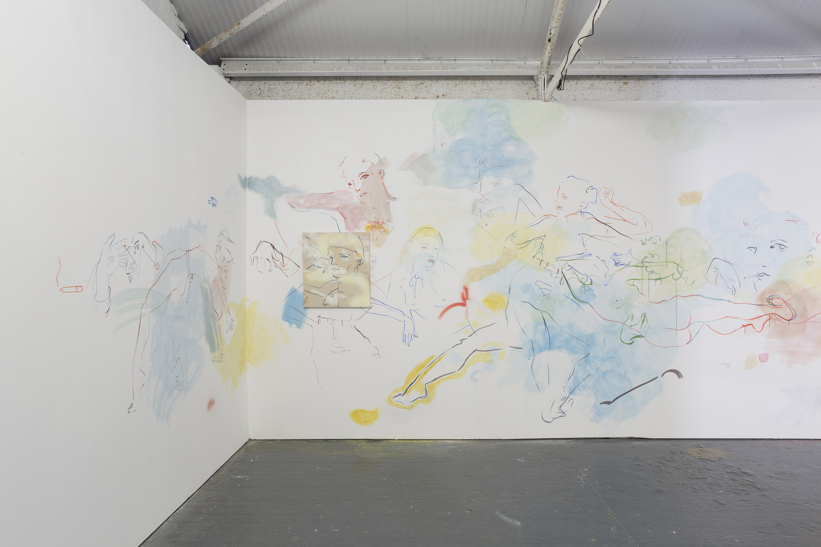 Installation view (2) of site-specific wall mural France-Lise McGurn, Soft, psychic, sweet surprise, 2016, acrylic, spray paint and cigarettes