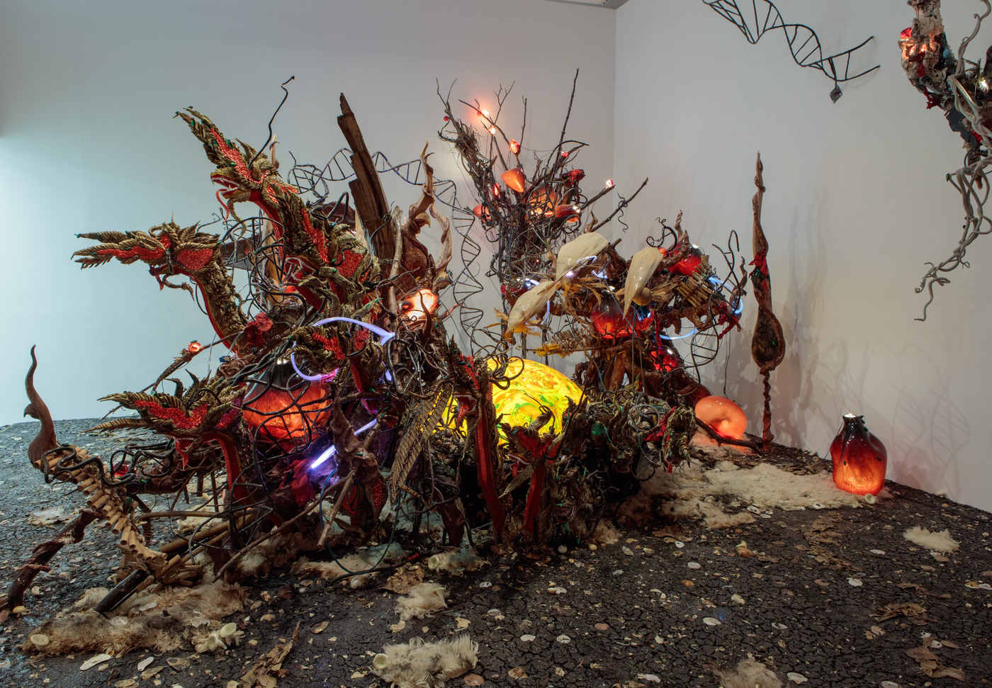 Korakrit Arunanondchai At C L E A R I N G Art Viewer Wiring New Home Fiber Optic With People Funny Names 4 Garden 2017 Indigo Powder Dads Dirt Seafood Waste Blown Glass Clay Led Lights Optics Electrical Wires