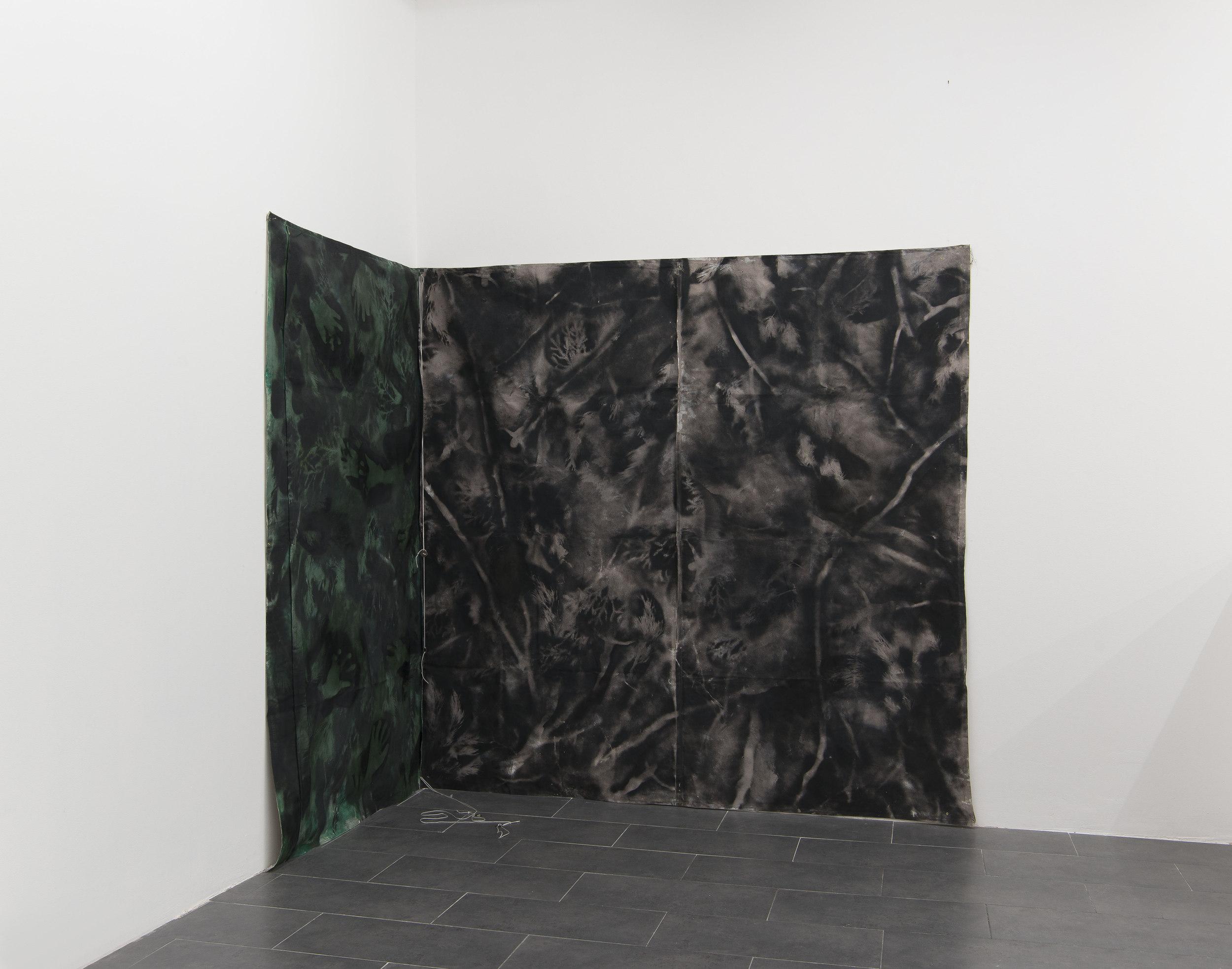 Marius Engh, Tent Painting #3, 2018, Spray Charcoal, Spray Paint, Acrylic Paint,