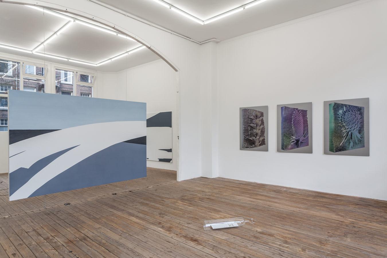 Installation view; Spiros Hadjidjanos, Sara Ludy, Priscilla Tea; Galerie Gabriel Rolt (1)