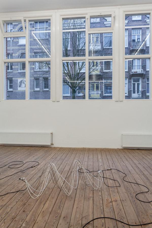 Spiros Hadjidjanos - Transmition in-itself - aluminium, ethernet cable, 2015; Three Rooms