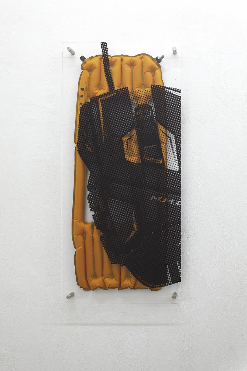 Inertia X ÔÇô Lite, 2015, C-print on acrylic glass, synthetic fiber, steel
