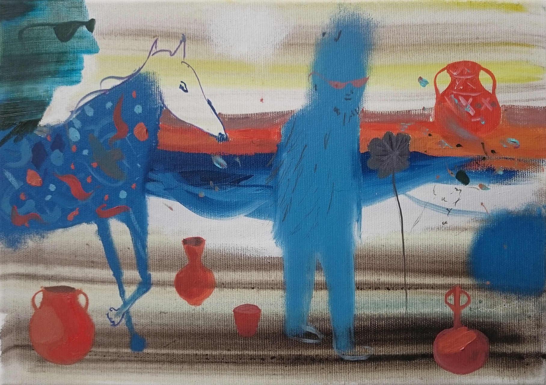 Razvan Botis, C&A [programming language of Mr. Anderson], 2015, oil on canvas, 25 x 35 cm