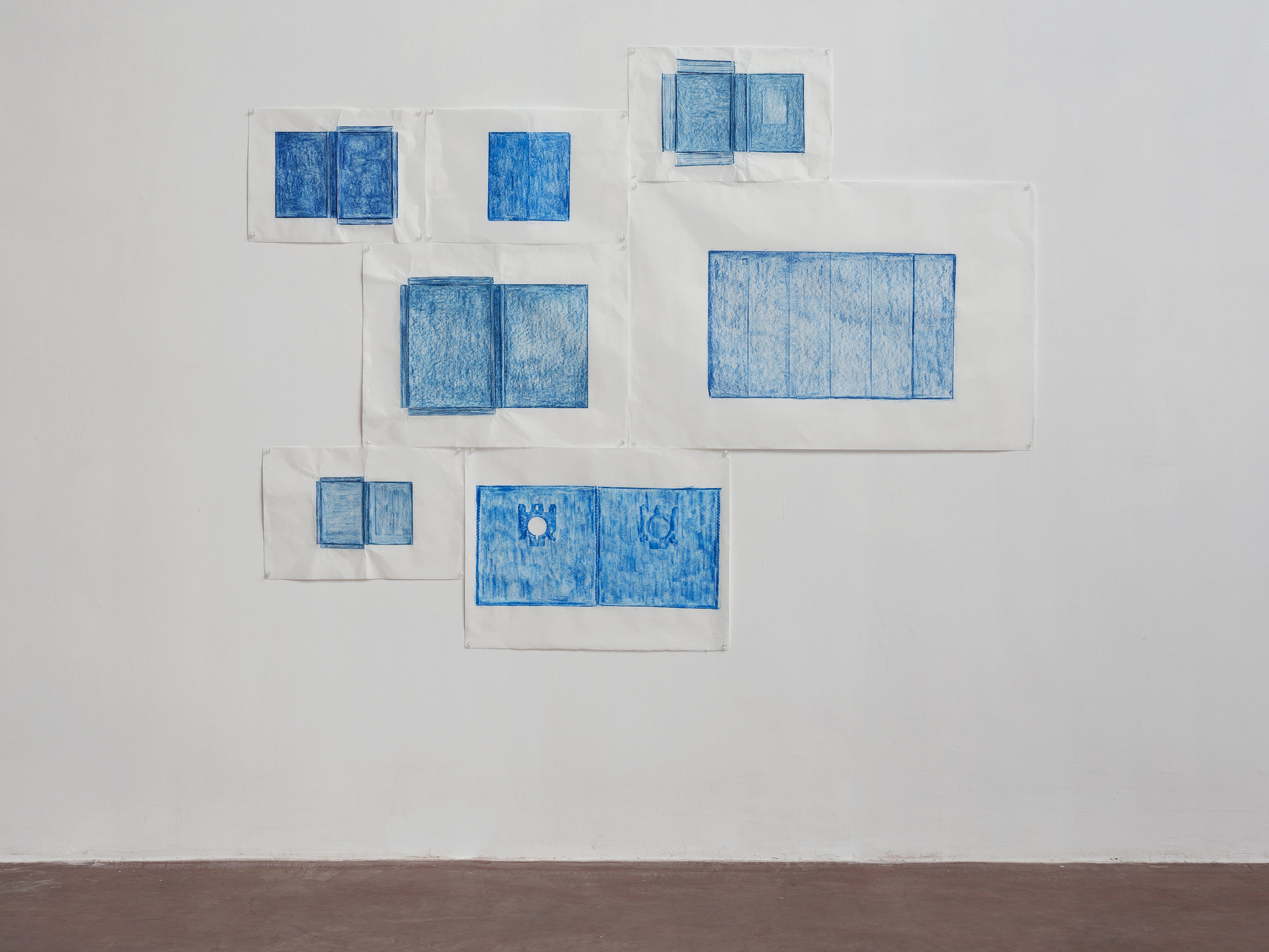 Jennifer Bornstein, Printed Matter, 2015, rubbing (encaustic and wax on Kozo paper), 145 x 190 cm, unique