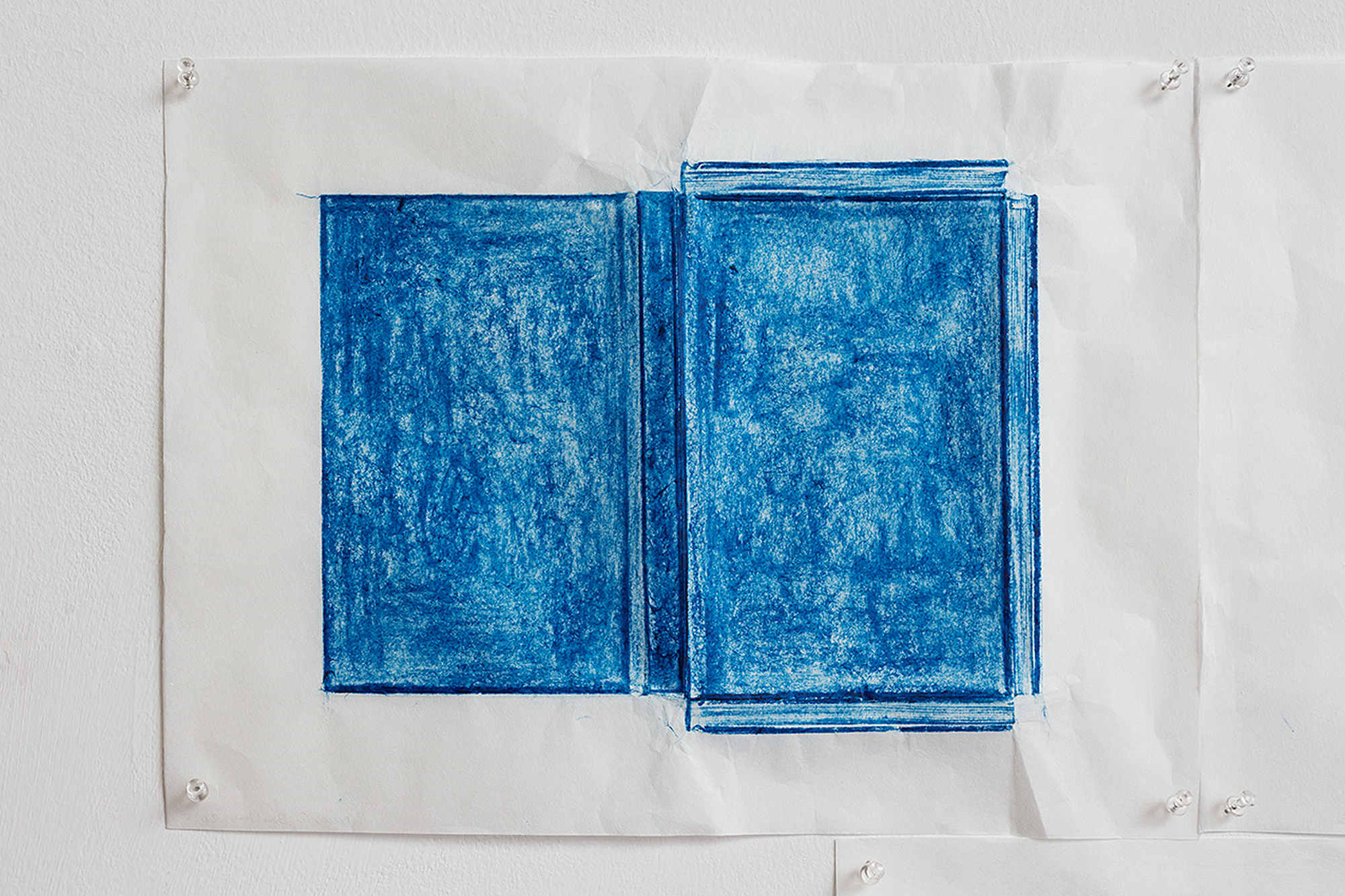 Jennifer Bornstein, Printed Matter, rubbing (encaustic and wax on Kozo paper), 31.5x42.5 cm, unique