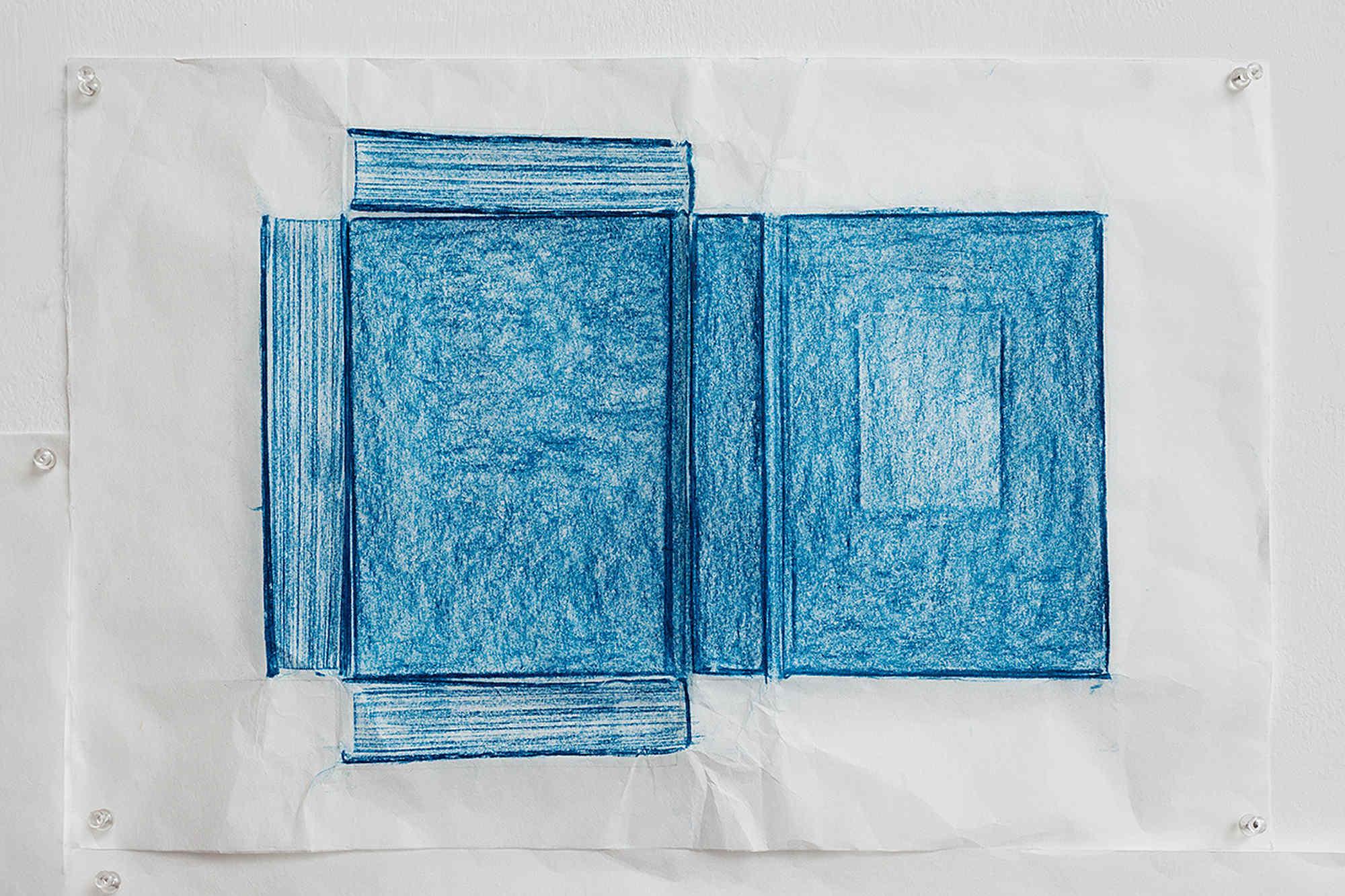 Jennifer Bornstein, Printed Matter, rubbing (encaustic and wax on Kozo paper), 32x48.5 cm, unique