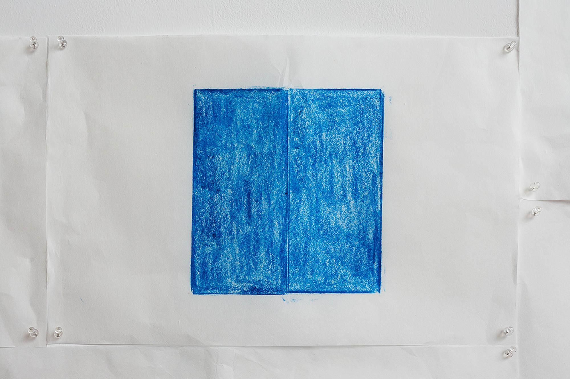 Jennifer Bornstein, Printed Matter, rubbing (encaustic and wax on Kozo paper), 32x49 cm, unique