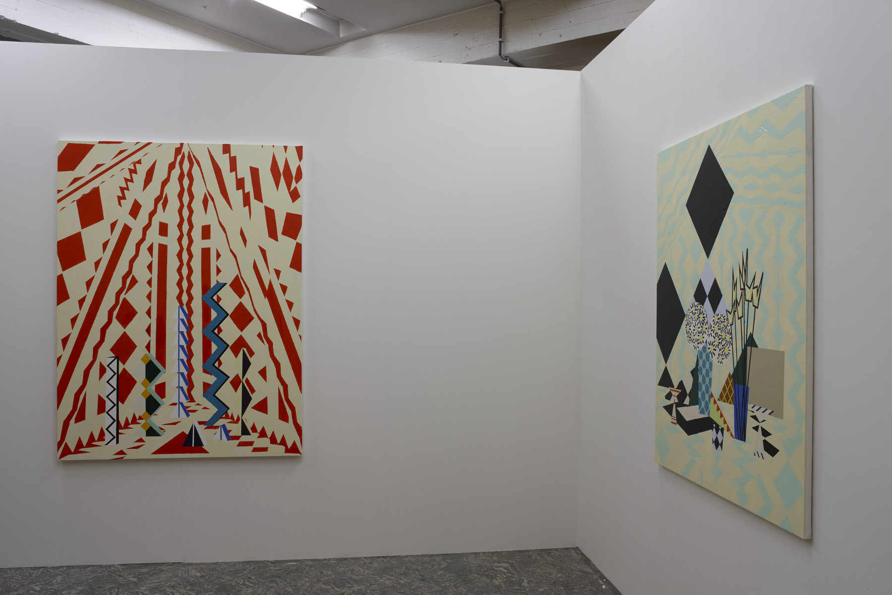 Farah Atassi, 'Zig-Zag', 2015, 'Interior with Tulips and Daisies', 2015, in 'Farah Atassi', installation view, Extra City Kunsthal, 2015 © Jan Kempenaers