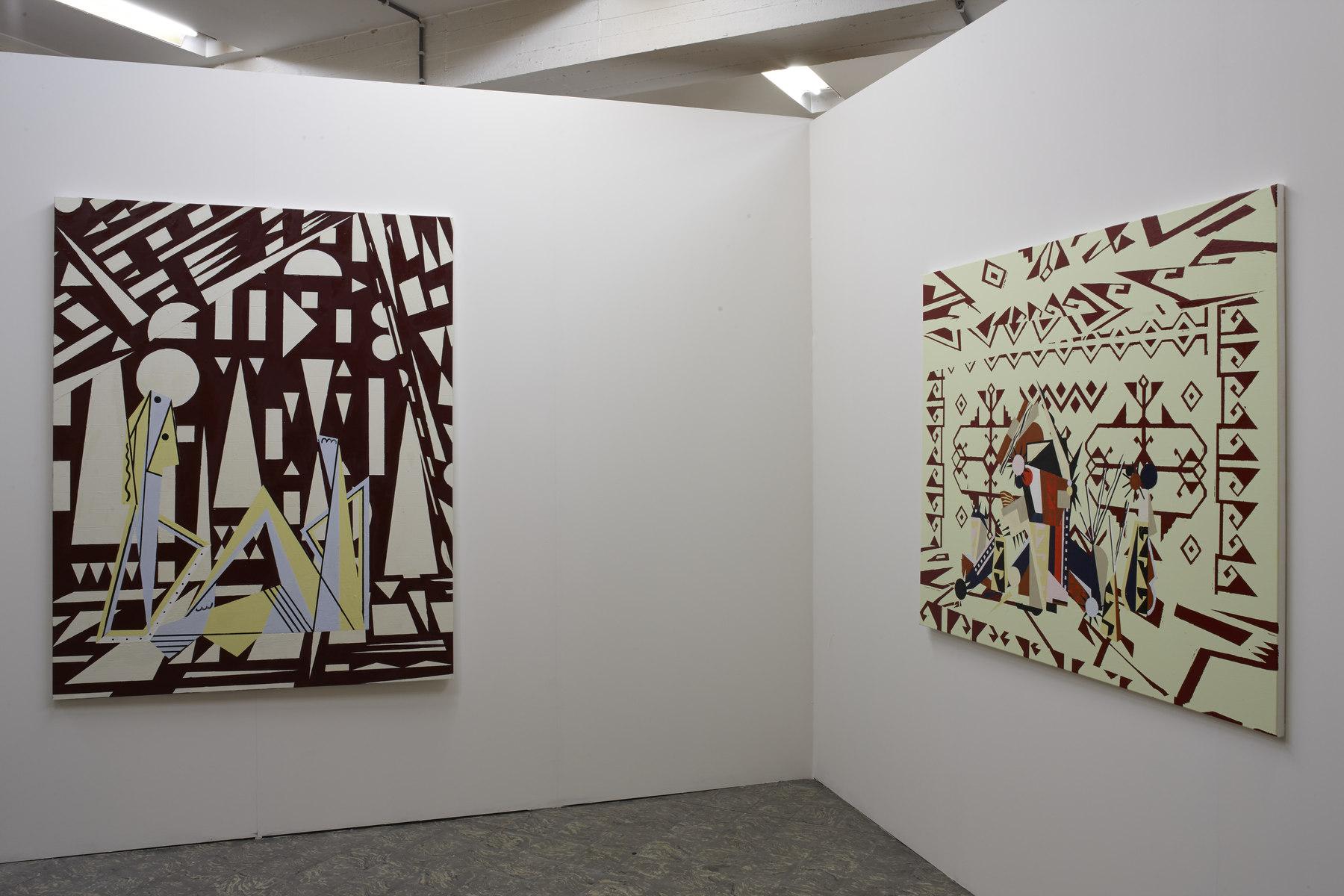 Farah Atassi, 'Interior with Flowers', 2015, 'Woman in a Studio', 2015, in 'Farah Atassi', installation view, Extra City Kunsthal, 2015 © Jan Kempenaers