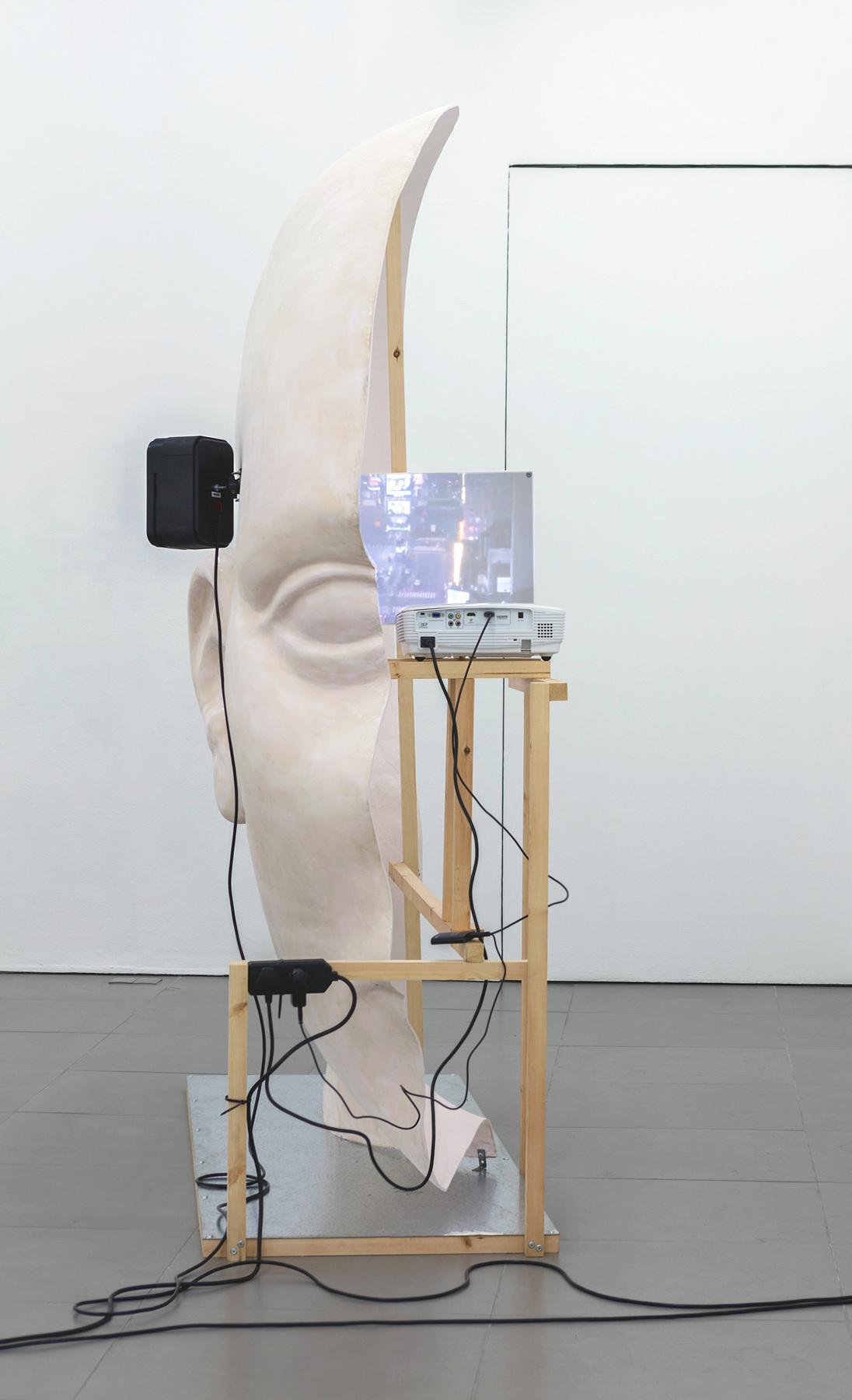 08. Anne de Vries, SUBMISSION 2015, wood, metal, fibreglass resin, audio, video
