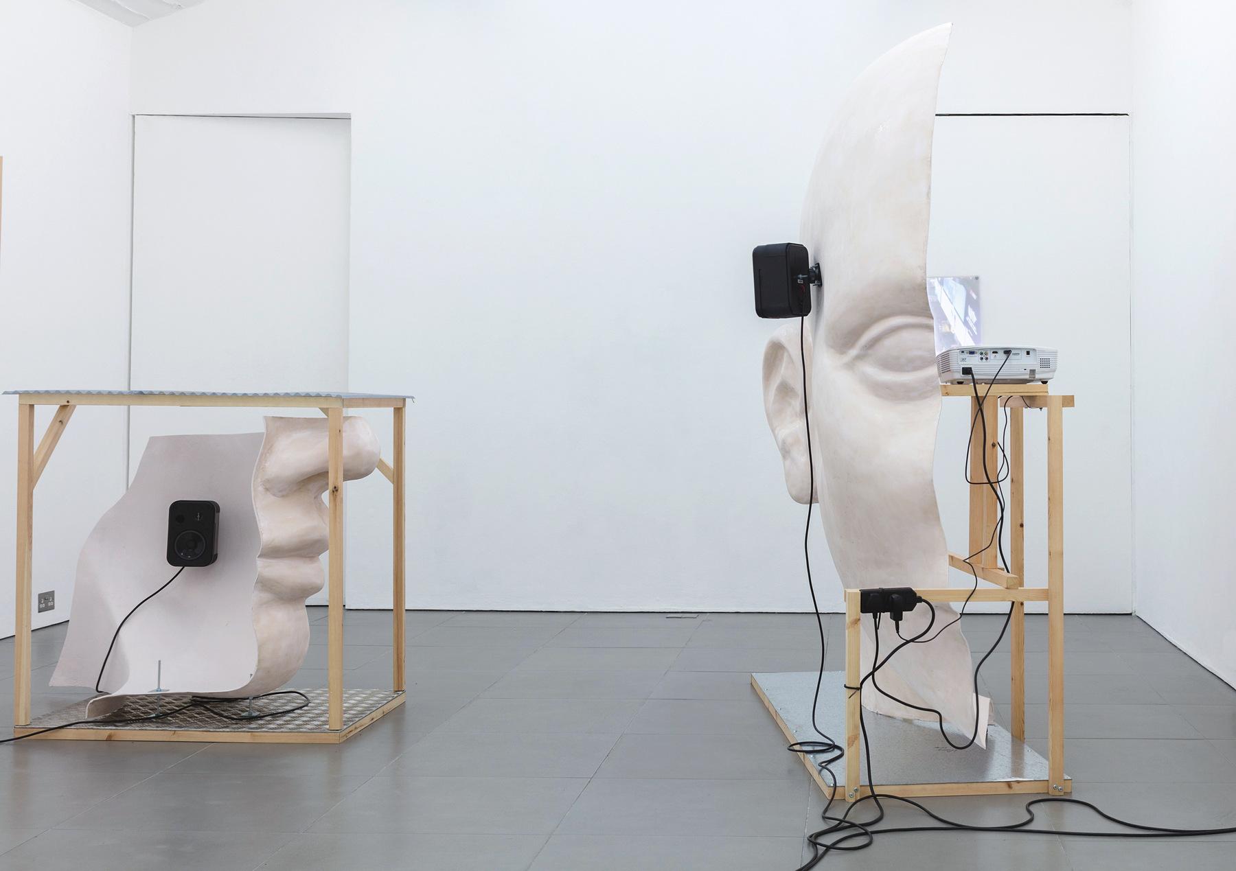15. Anne de Vries, SUBMISSION 2015, wood, metal, fibreglass resin, audio, video