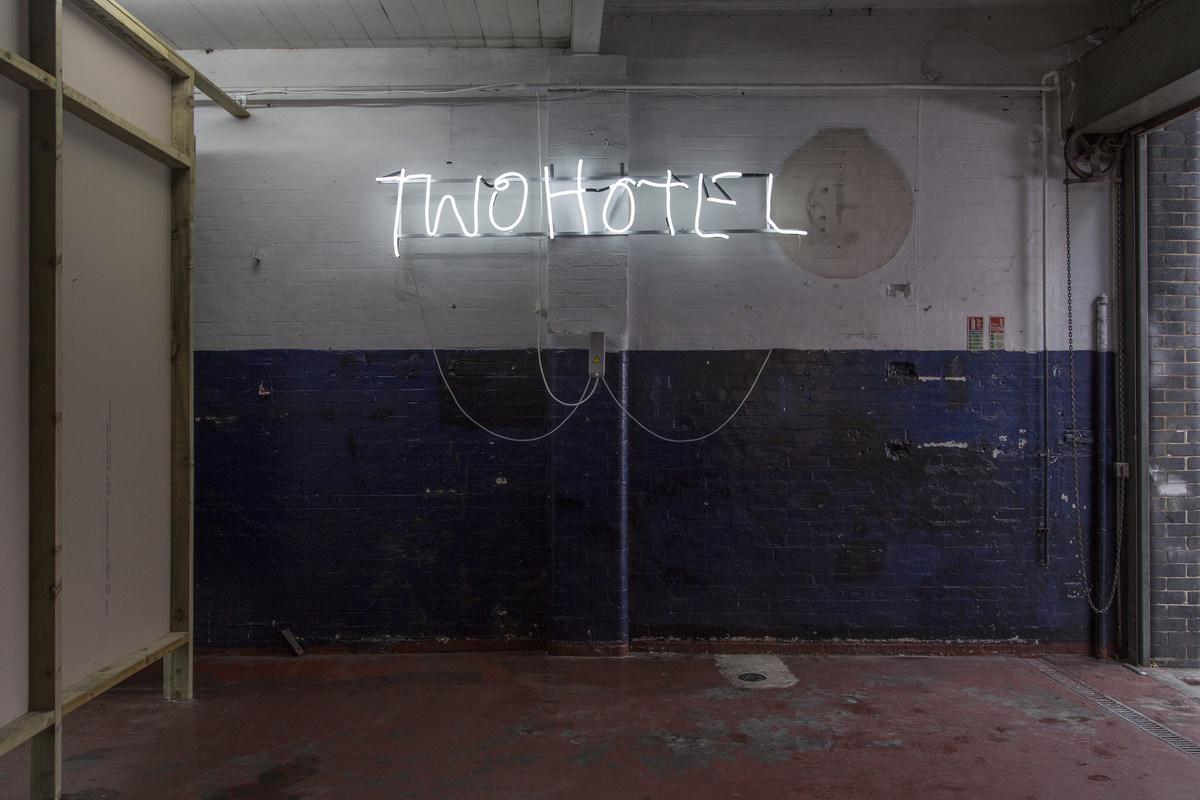18 Fabian Marti, TwoHotel (White), 2015, neon light, 50 x 250 cm