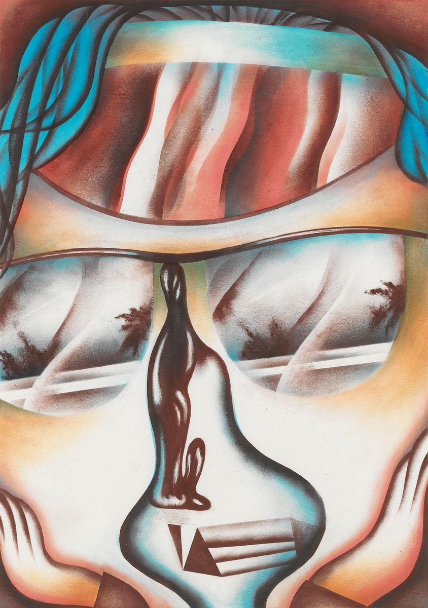 Visor - Öl auf Papier, 35 × 25 cm, 2015