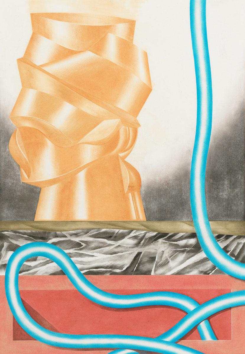 Pungi - Öl auf Papier, 50 × 35 cm, 2015