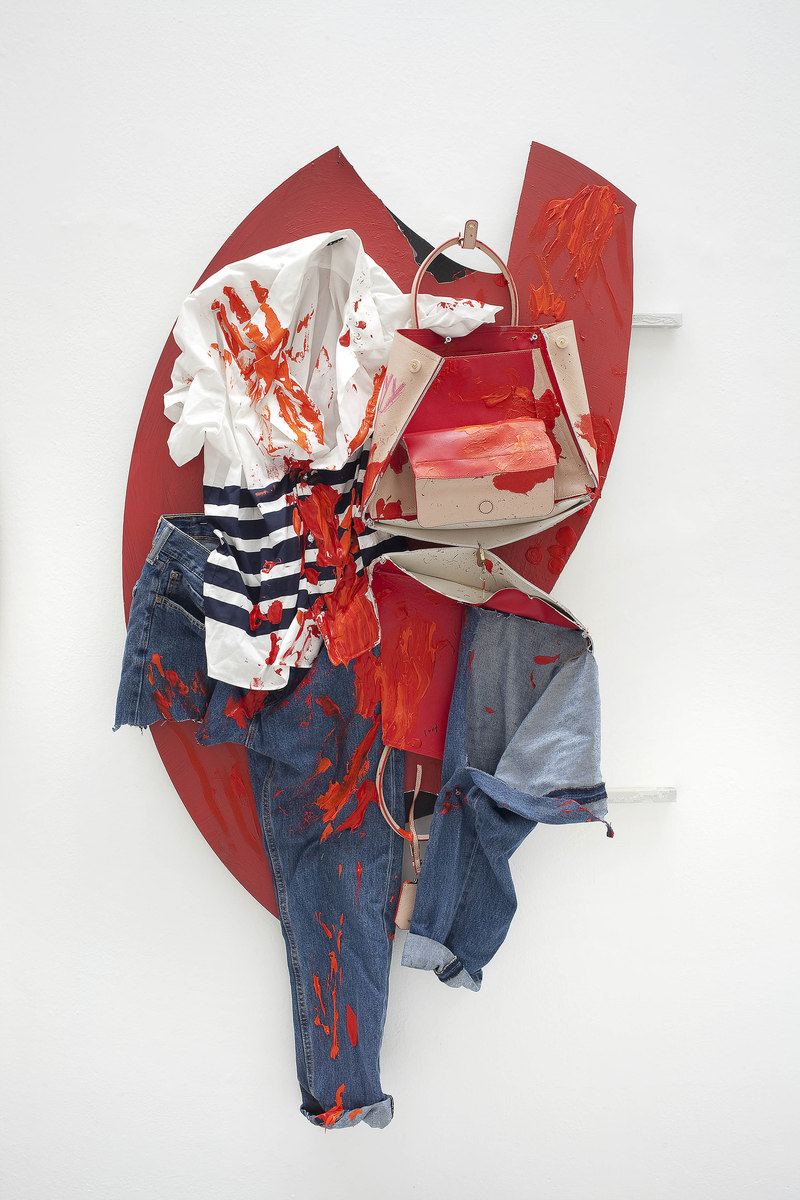 7 - Yves Scherer, C+Y, 2015, Aluminium Dibond, Prada Bag, T-Shirt, Pants and Acrylic Paint, 135x85 cm - Courtesy Studiolo, Milan - Photo Filippo Armellin